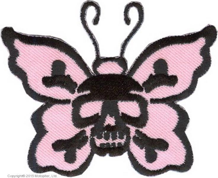 Нашивка Бабочка с черепом (розовая)