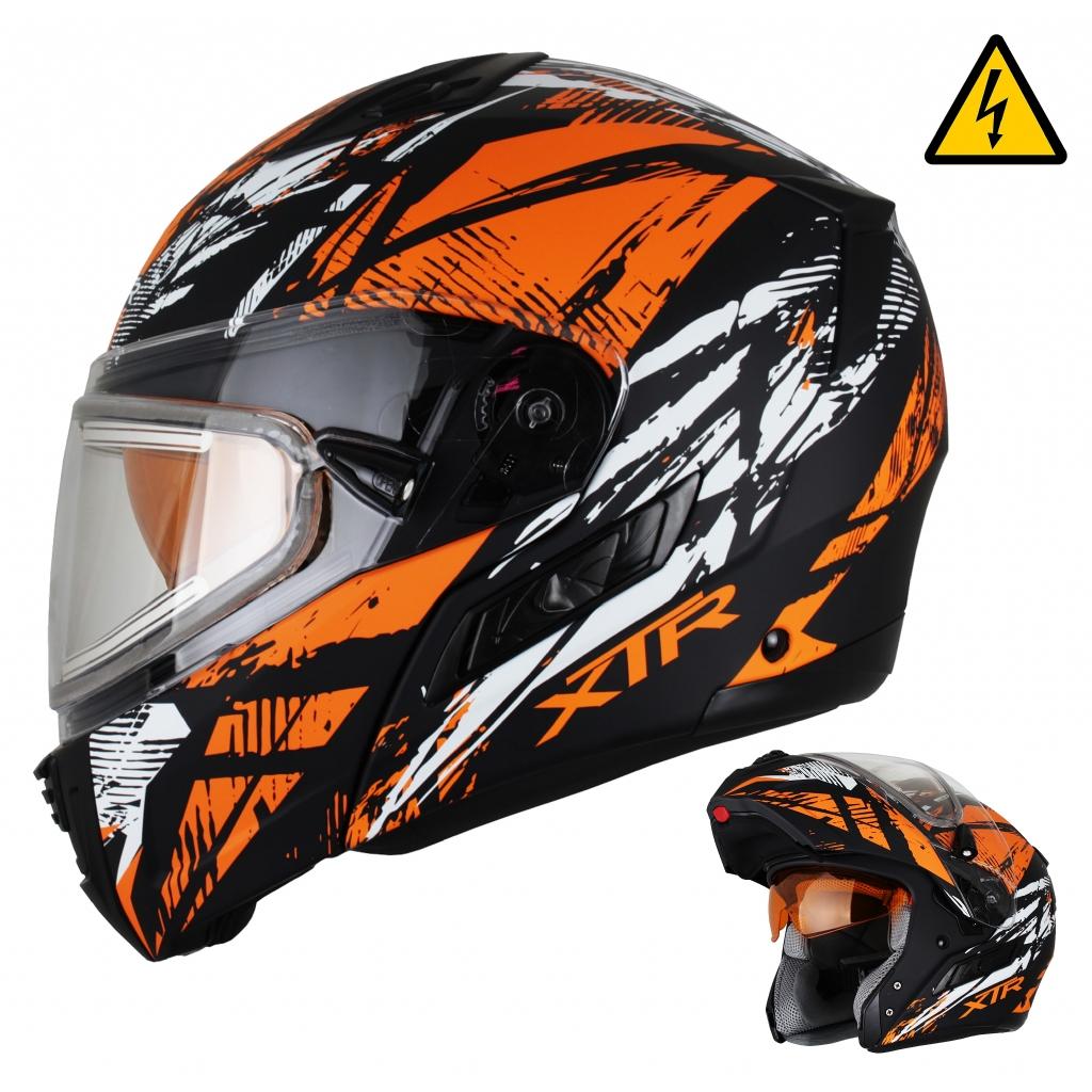 Снегоходный шлем модуляр с электростеклом MODE1 Tornado оранжевый матовый