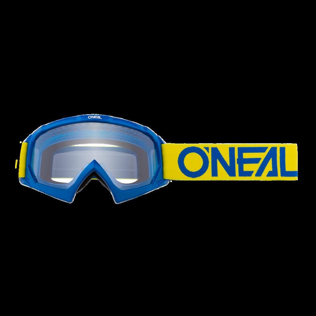 Маска кроссовая O'NEAL B-10 Youth, детская, синий, прозрачная линзы