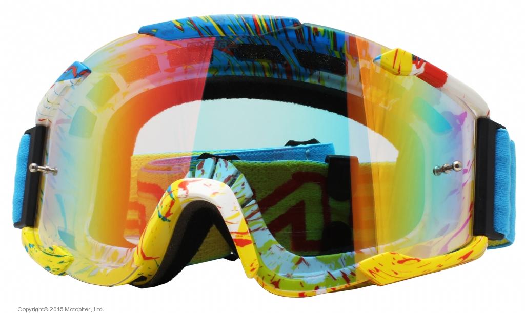 Кроссовая маска B2 RL Goggle SPRAY голубая/радиум