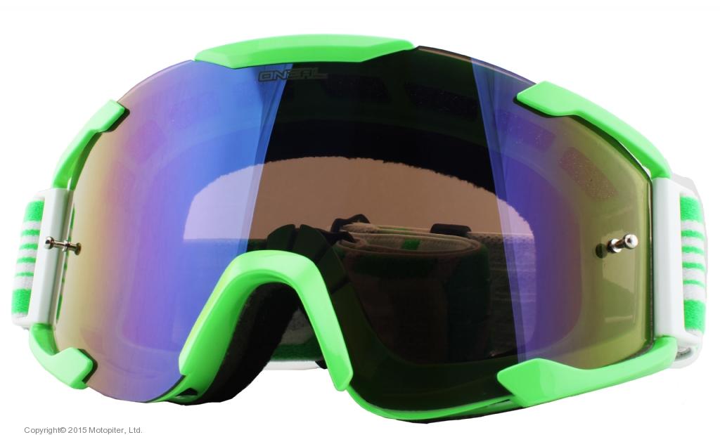 Кроссовая маска B2 RL Goggle THREESIXZERO зелёная/радиум