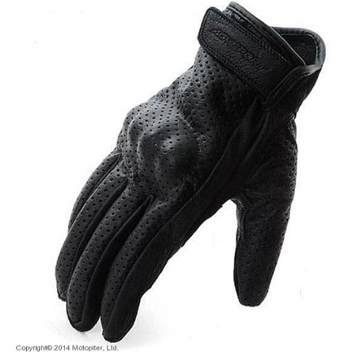 Кожаные перчатки Classic, черные, перфорация.