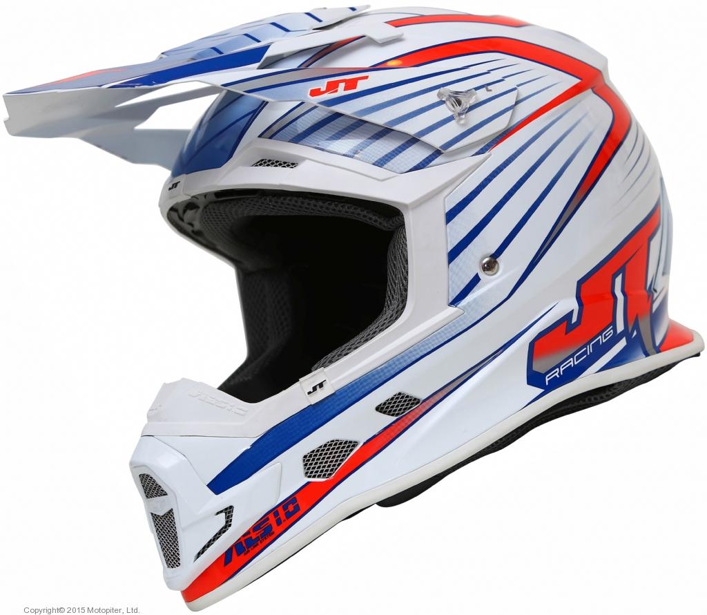 Шлем кроссовый  ALS1.0 бело-красно-синий