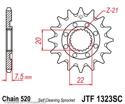 Звезда передняя (ведущая) JTF1323 для мотоцикла, стальная c самоочисткой