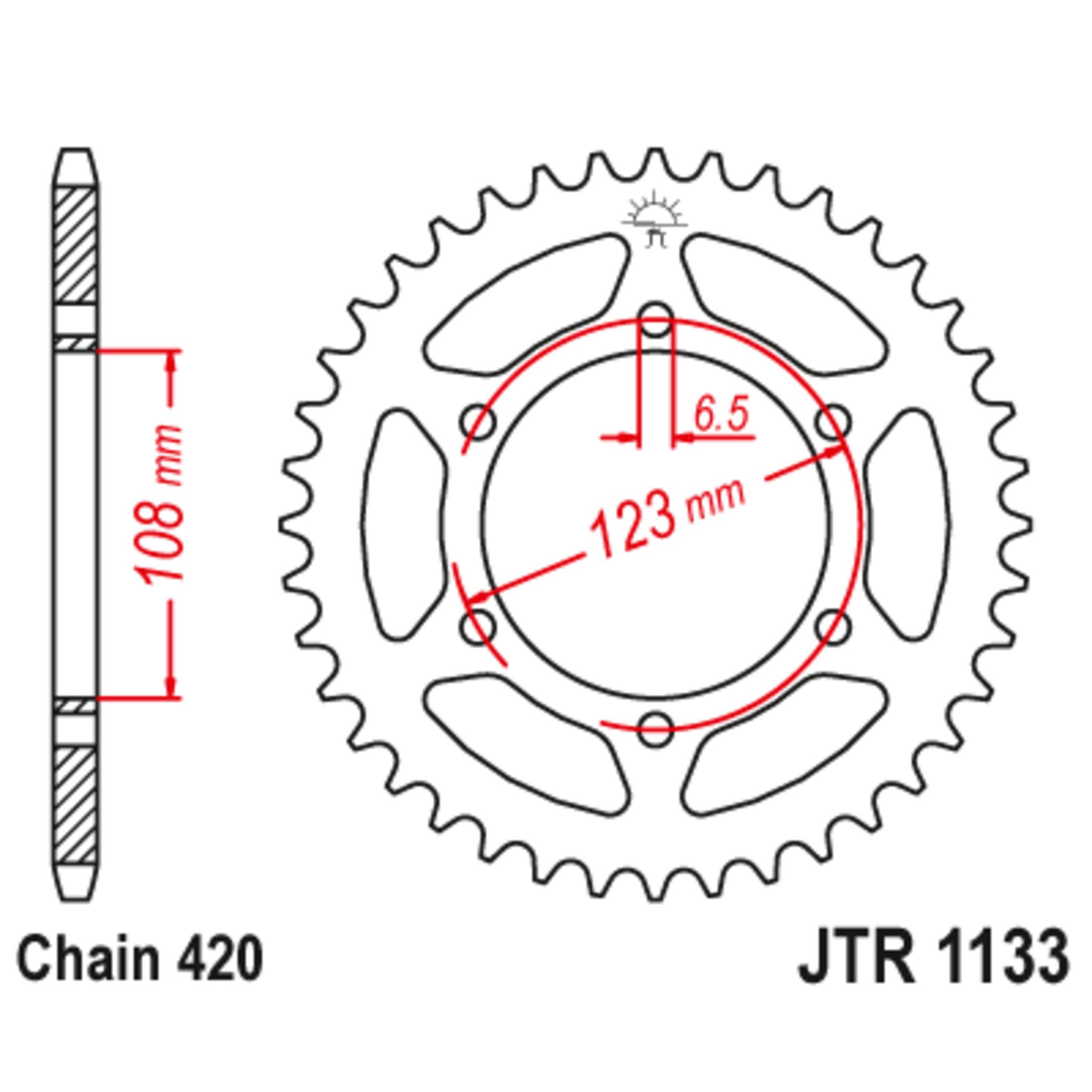 Звезда задняя (ведомая),(сталь) JT 1133.53