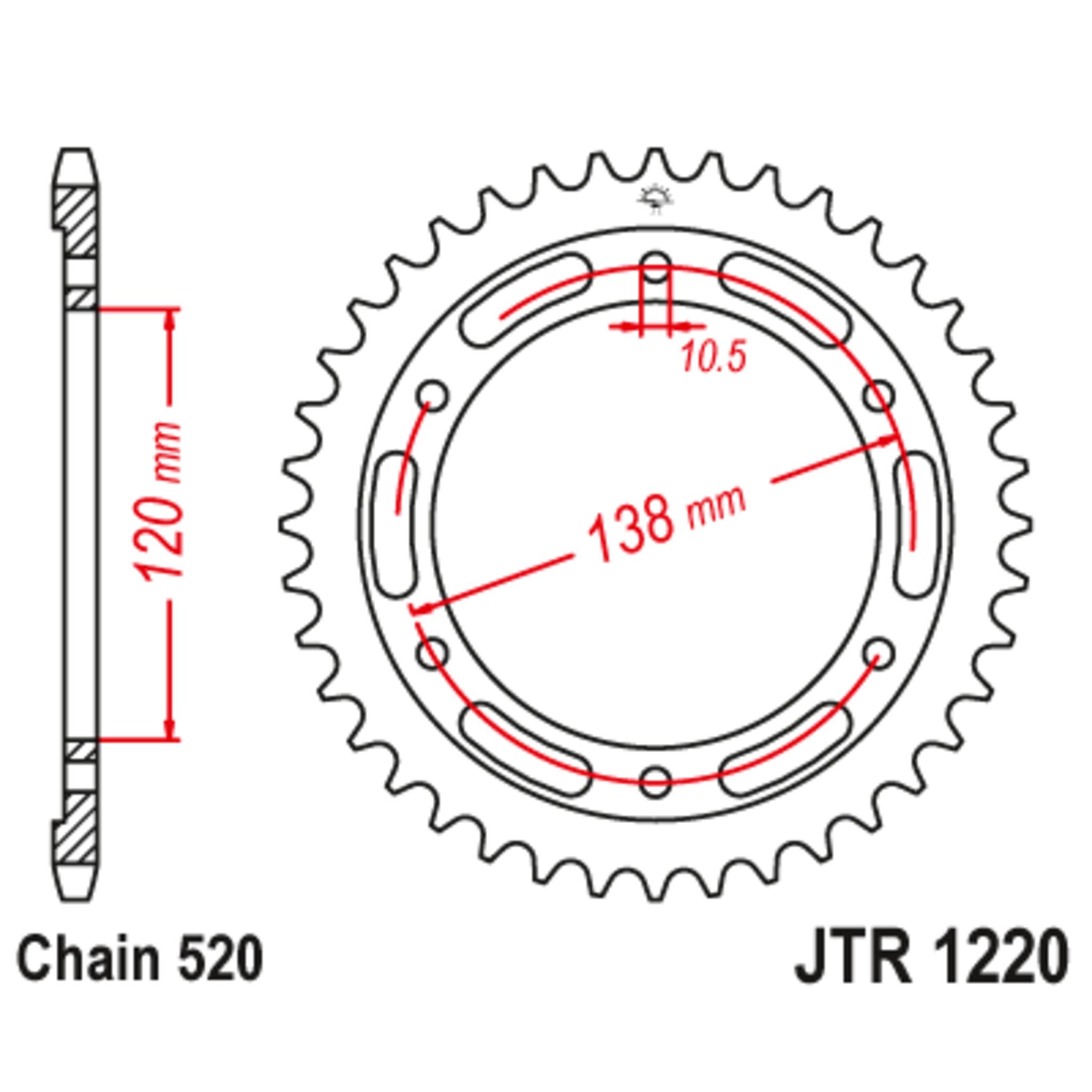 Звезда задняя (ведомая),(сталь) JT 1220.38