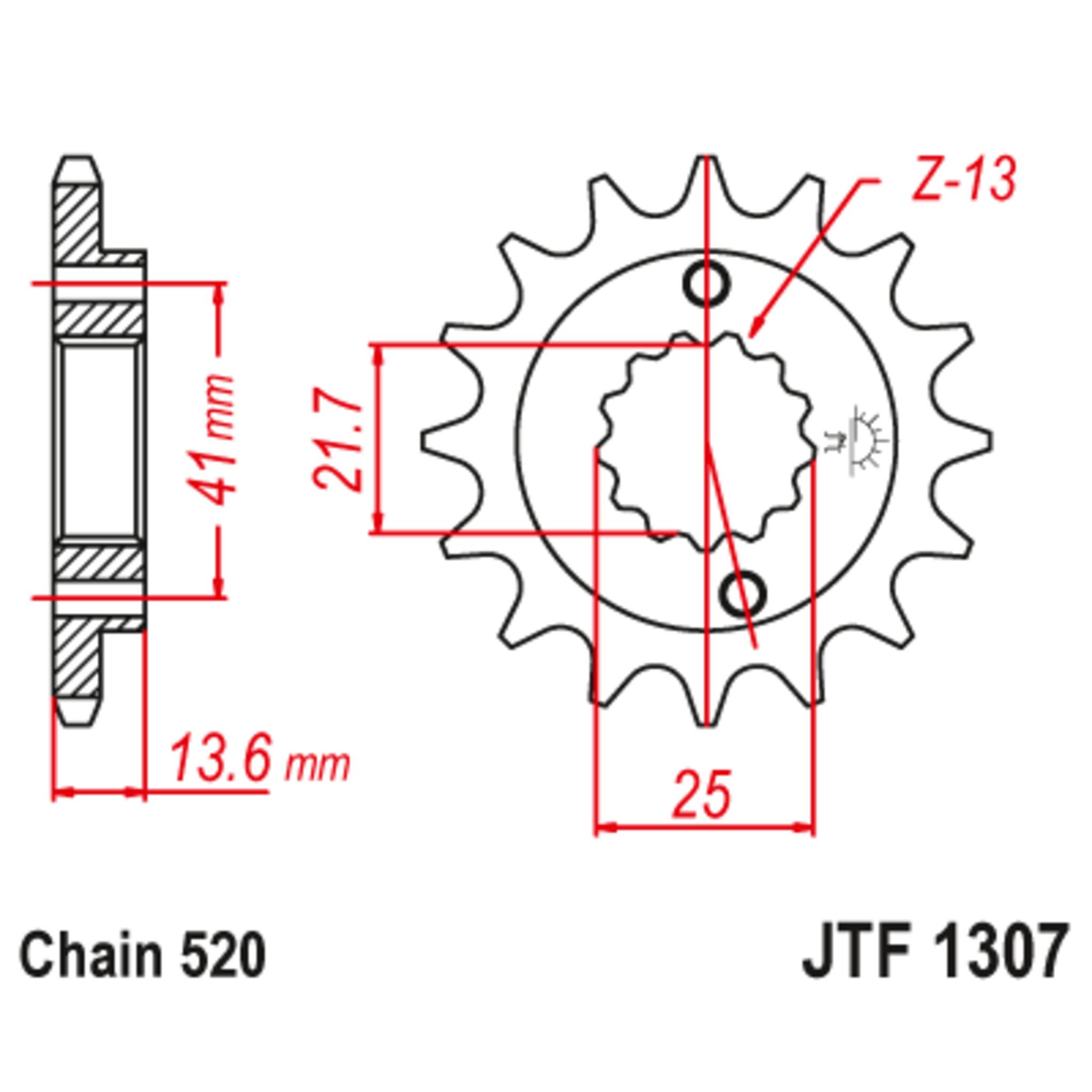 Звезда ведущая , с демпфером, JT 1307.15RB