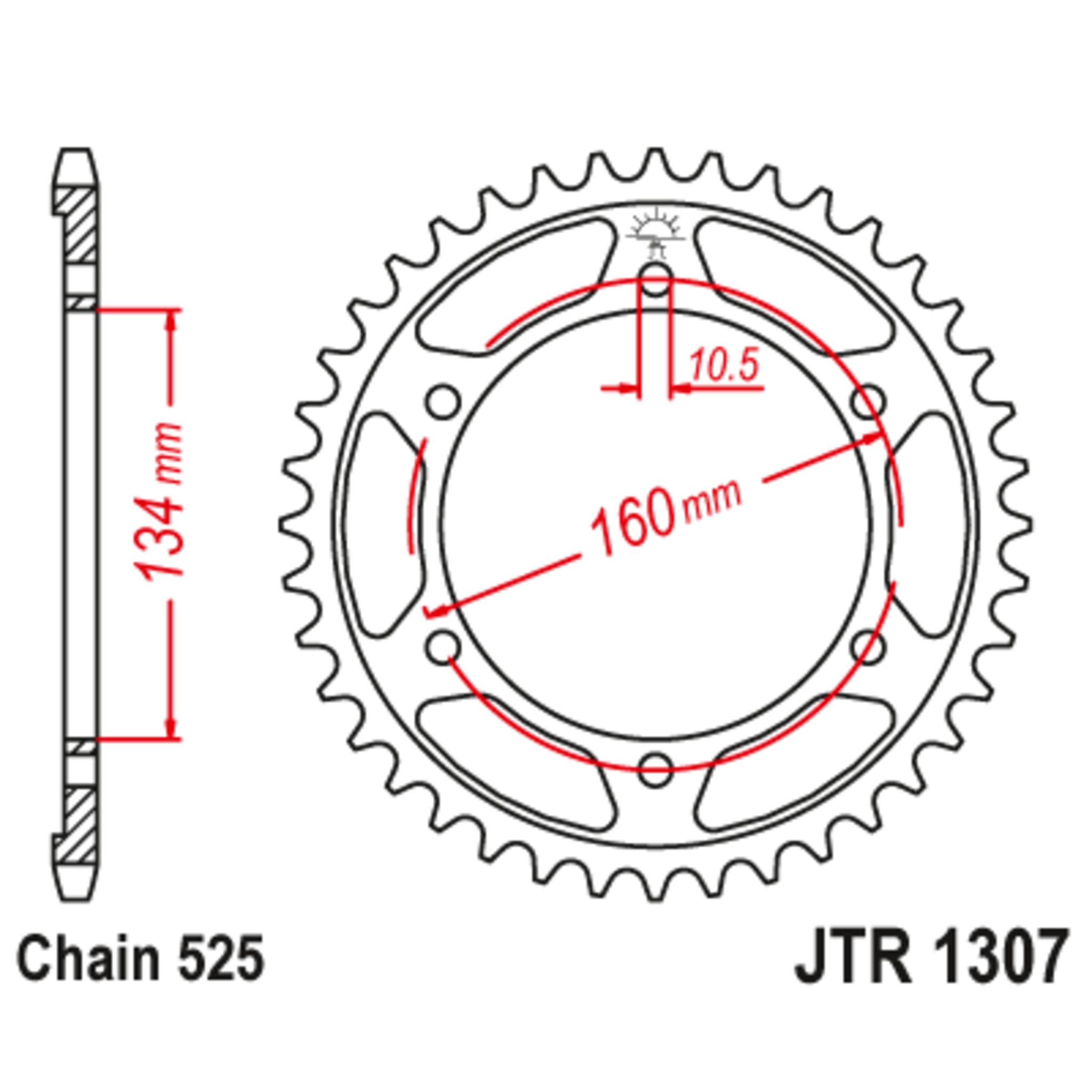 Звезда задняя (ведомая),(сталь) JT 1307.43