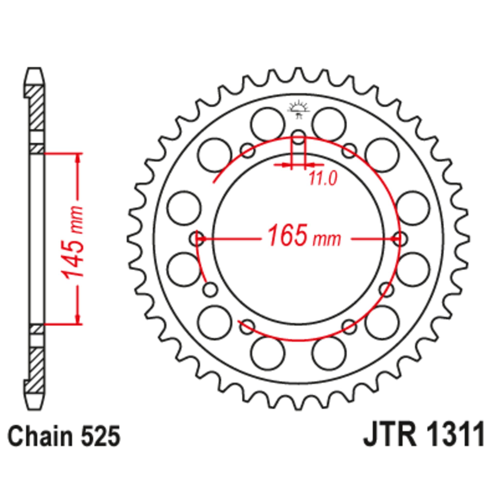 Звезда задняя (ведомая),(сталь) JT 1311.44