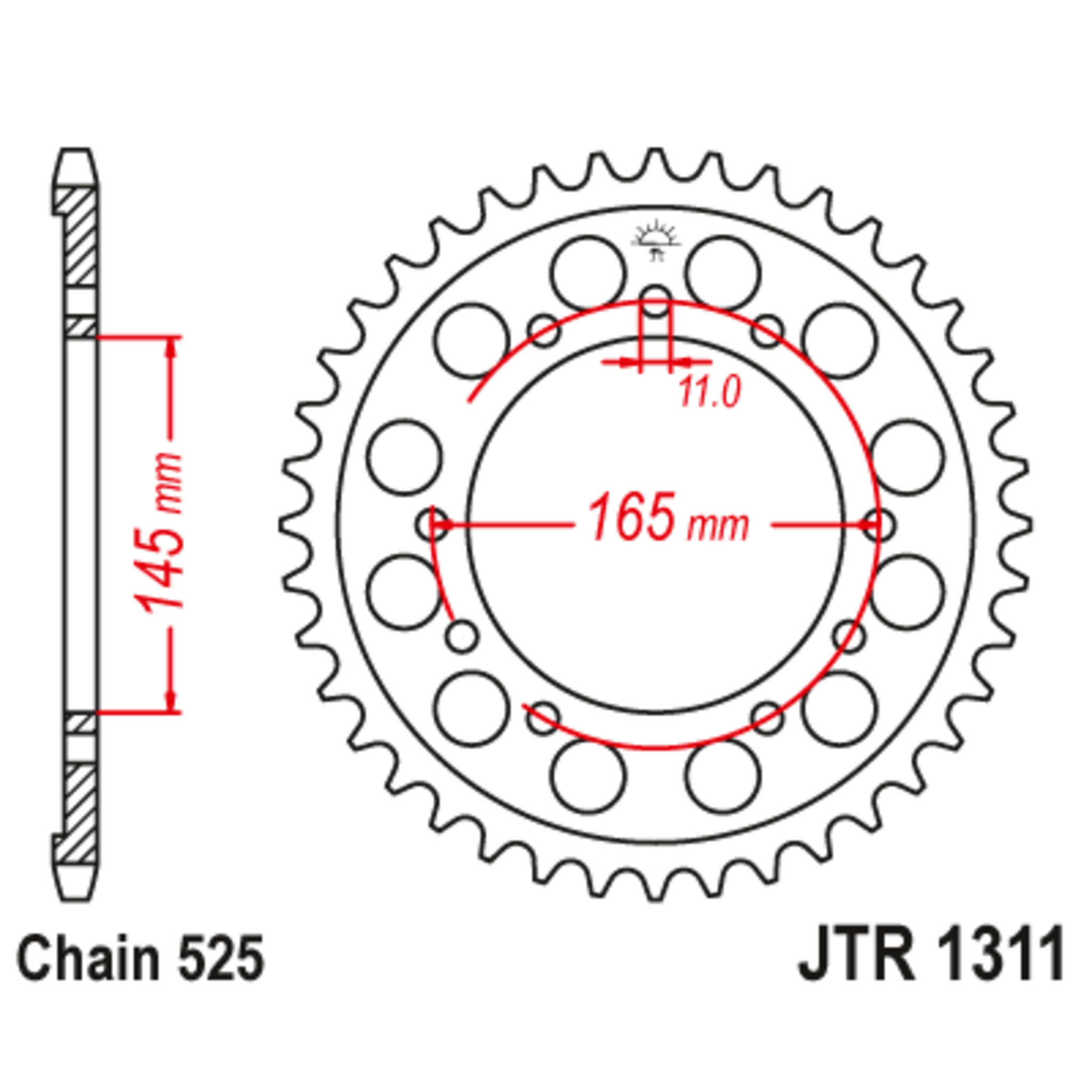 Звезда задняя (ведомая),(сталь) JT 1311.45