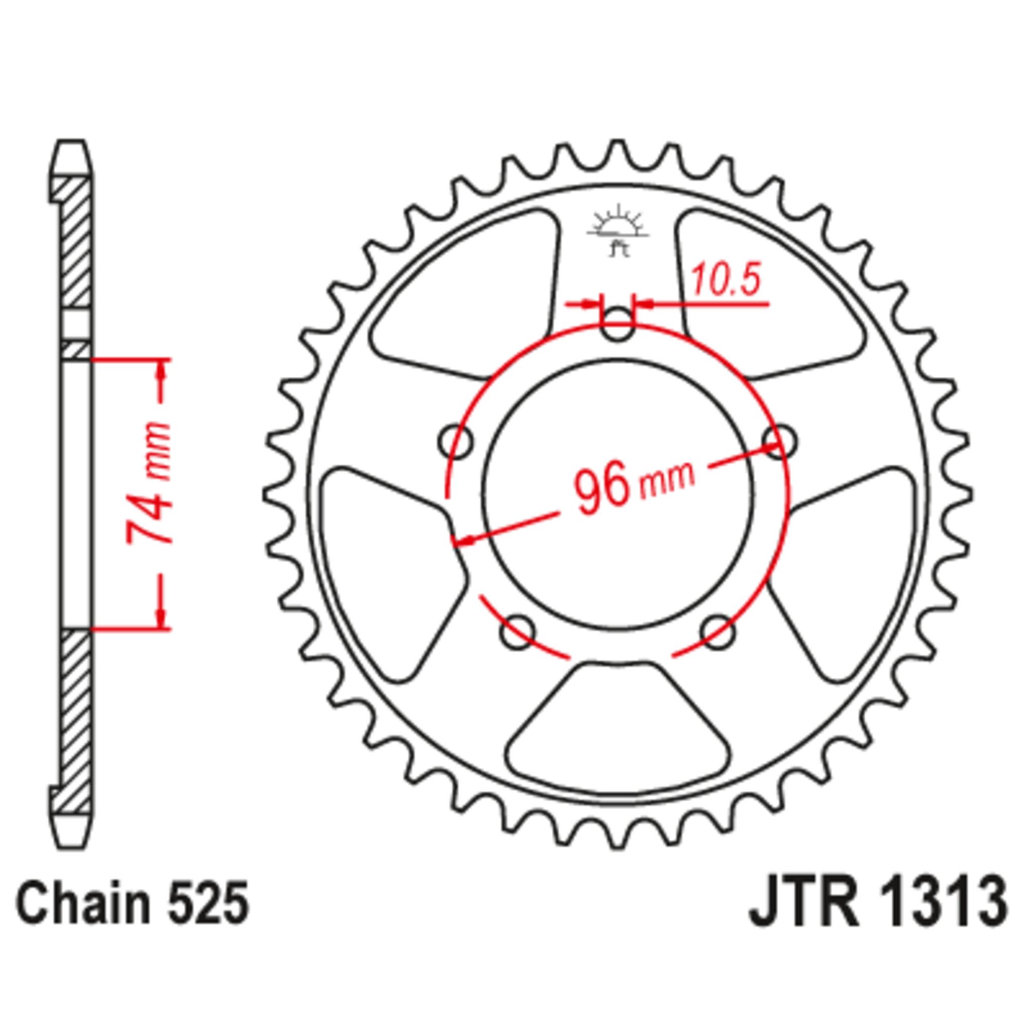 Звезда задняя (ведомая),(сталь) JT 1313.42