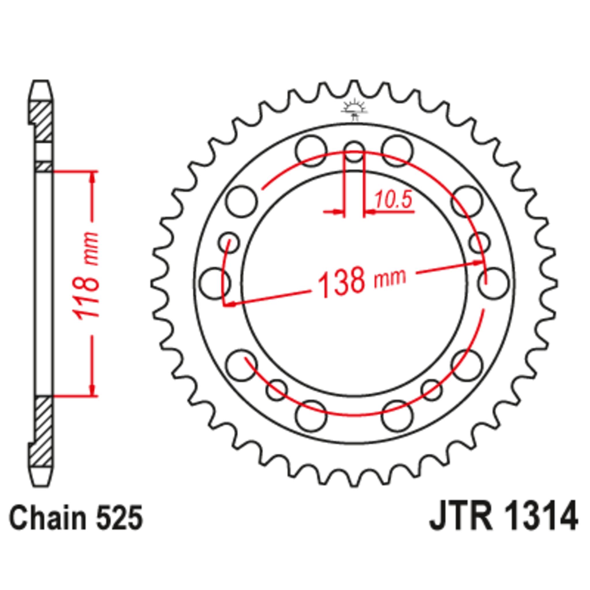 Звезда задняя (ведомая),(сталь) JT 1314.39
