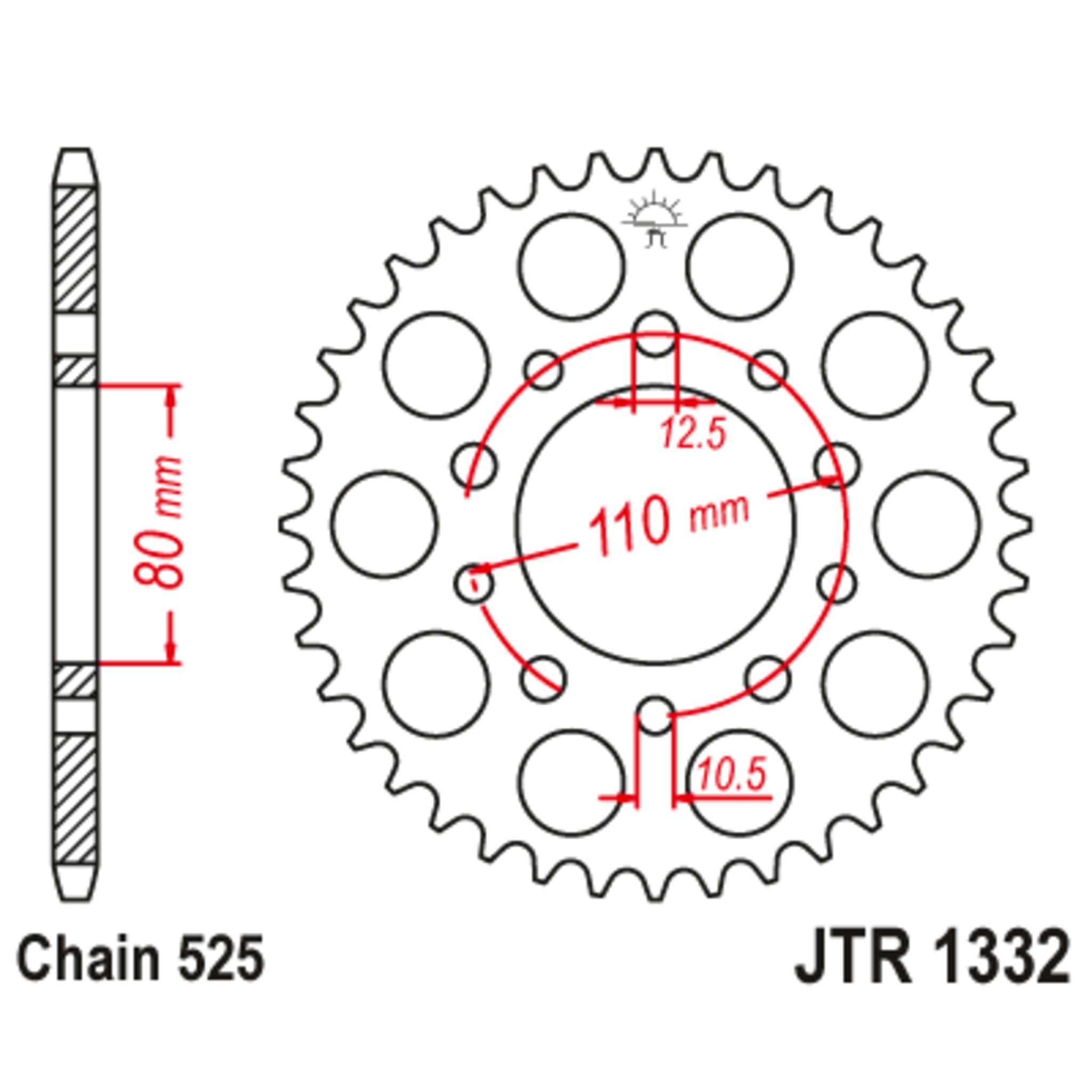 Звезда задняя (ведомая),(сталь) JT 1332.38
