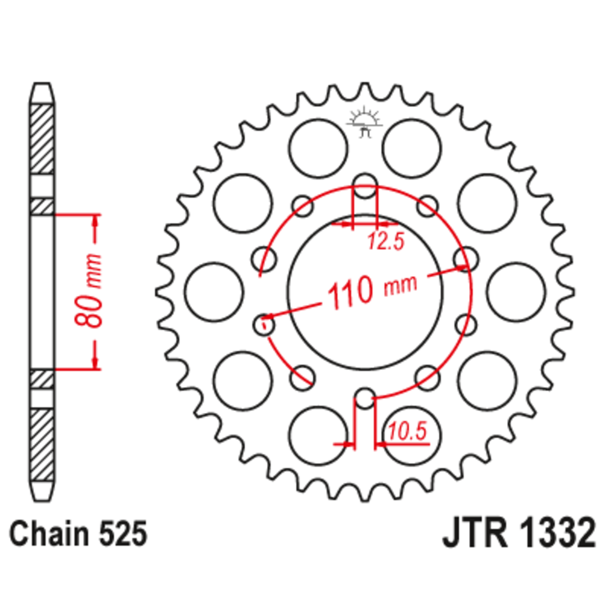 Звезда задняя (ведомая),(сталь) JT 1332.43