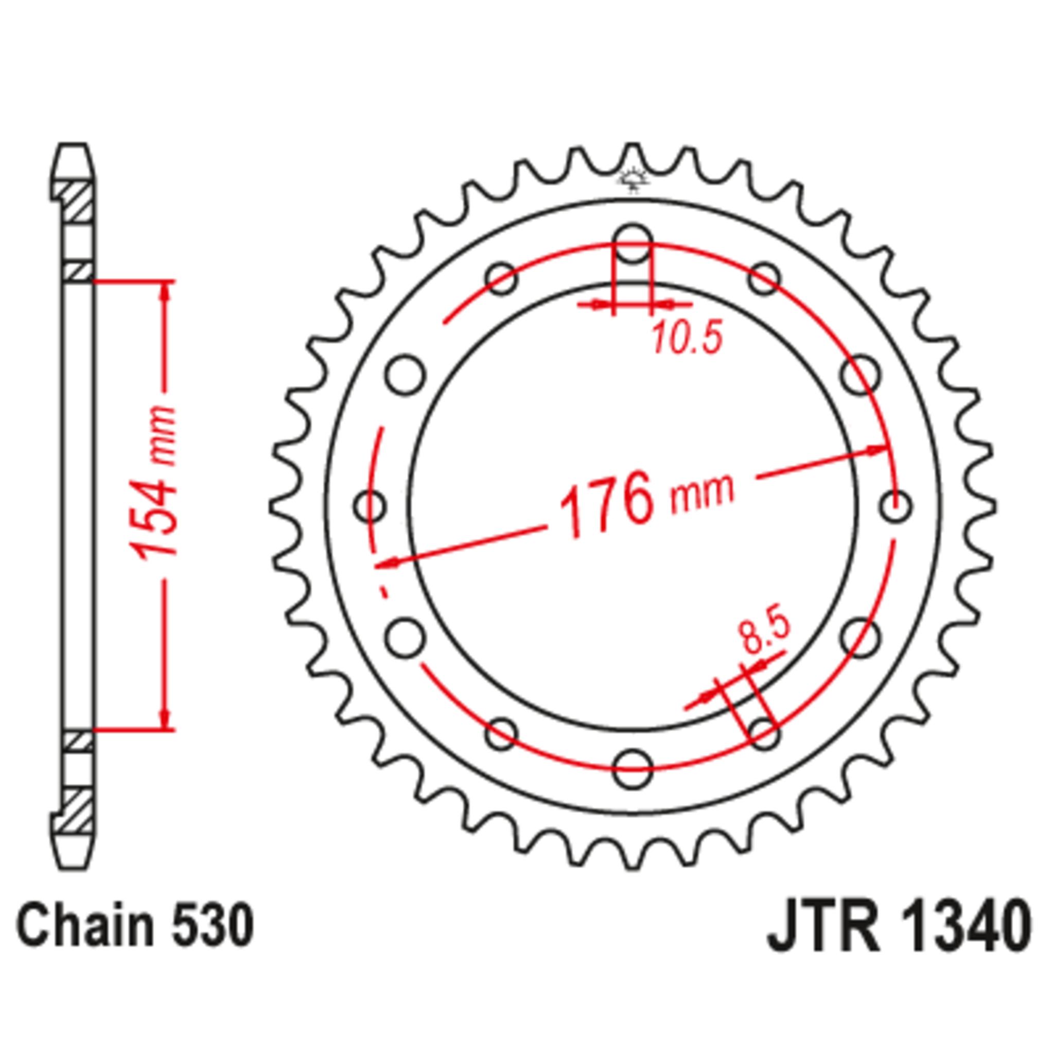 Звезда задняя (ведомая),(сталь) JT 1340.45