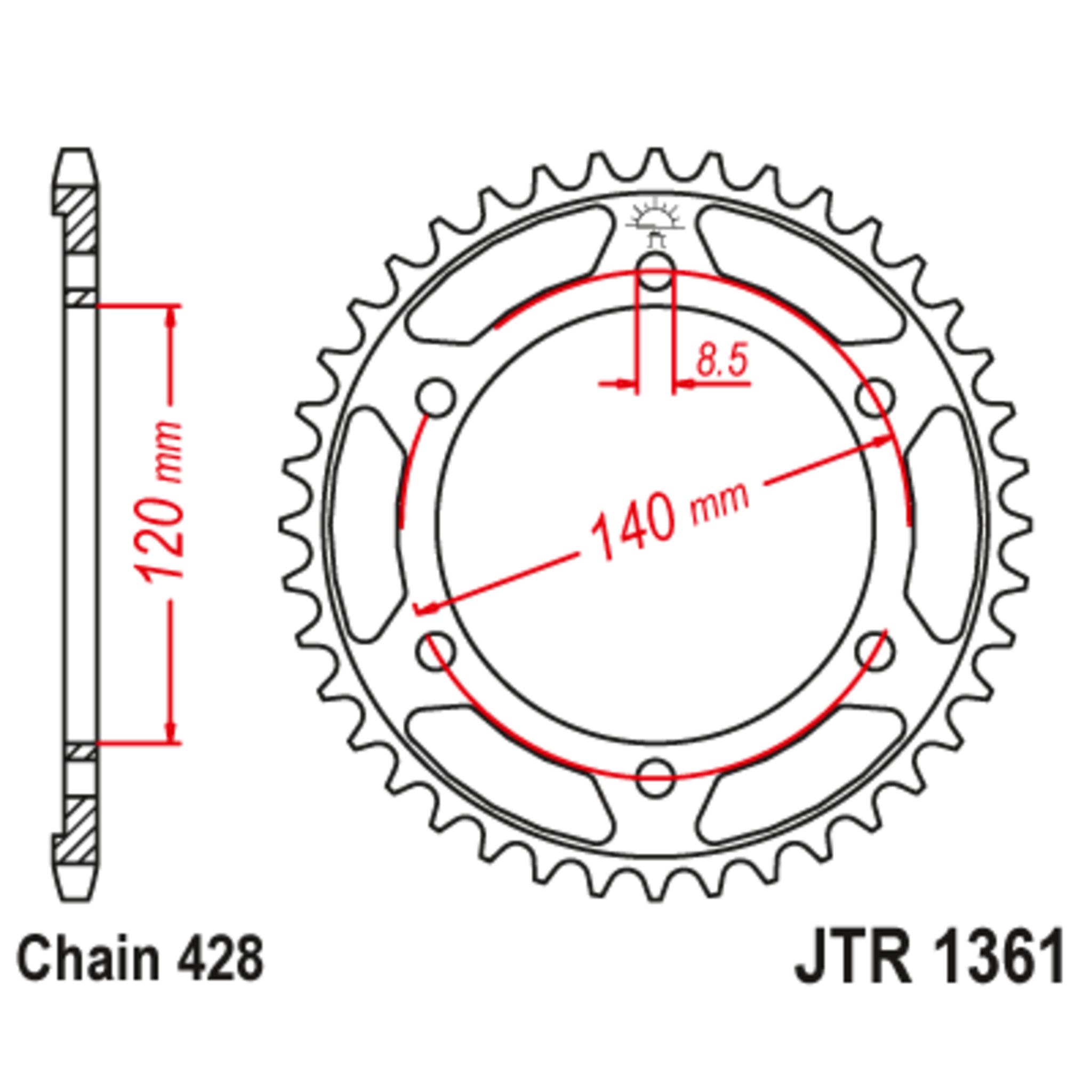 Звезда задняя (ведомая),(сталь) JT 1361.50