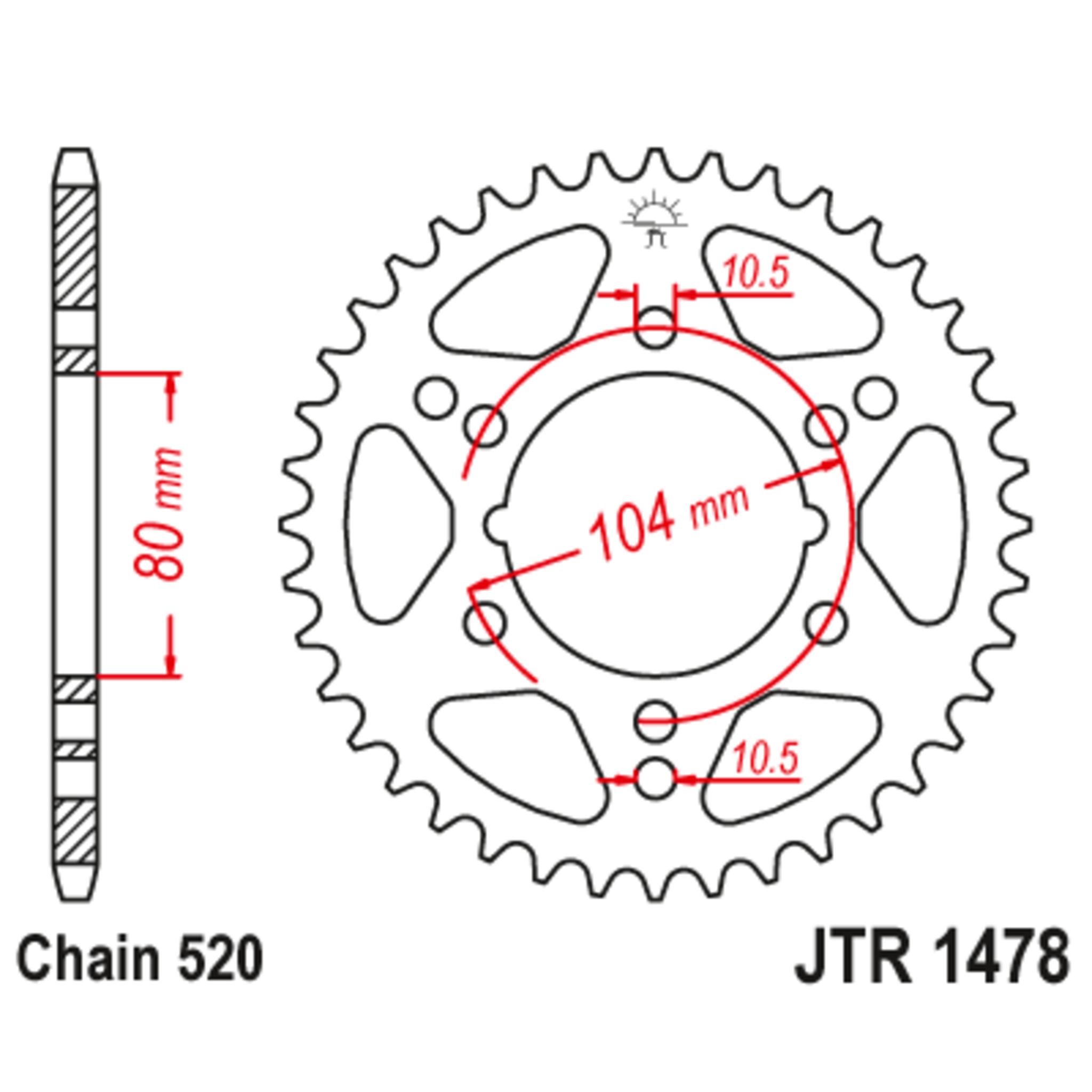 Звезда задняя (ведомая),(сталь) JT 1478.40