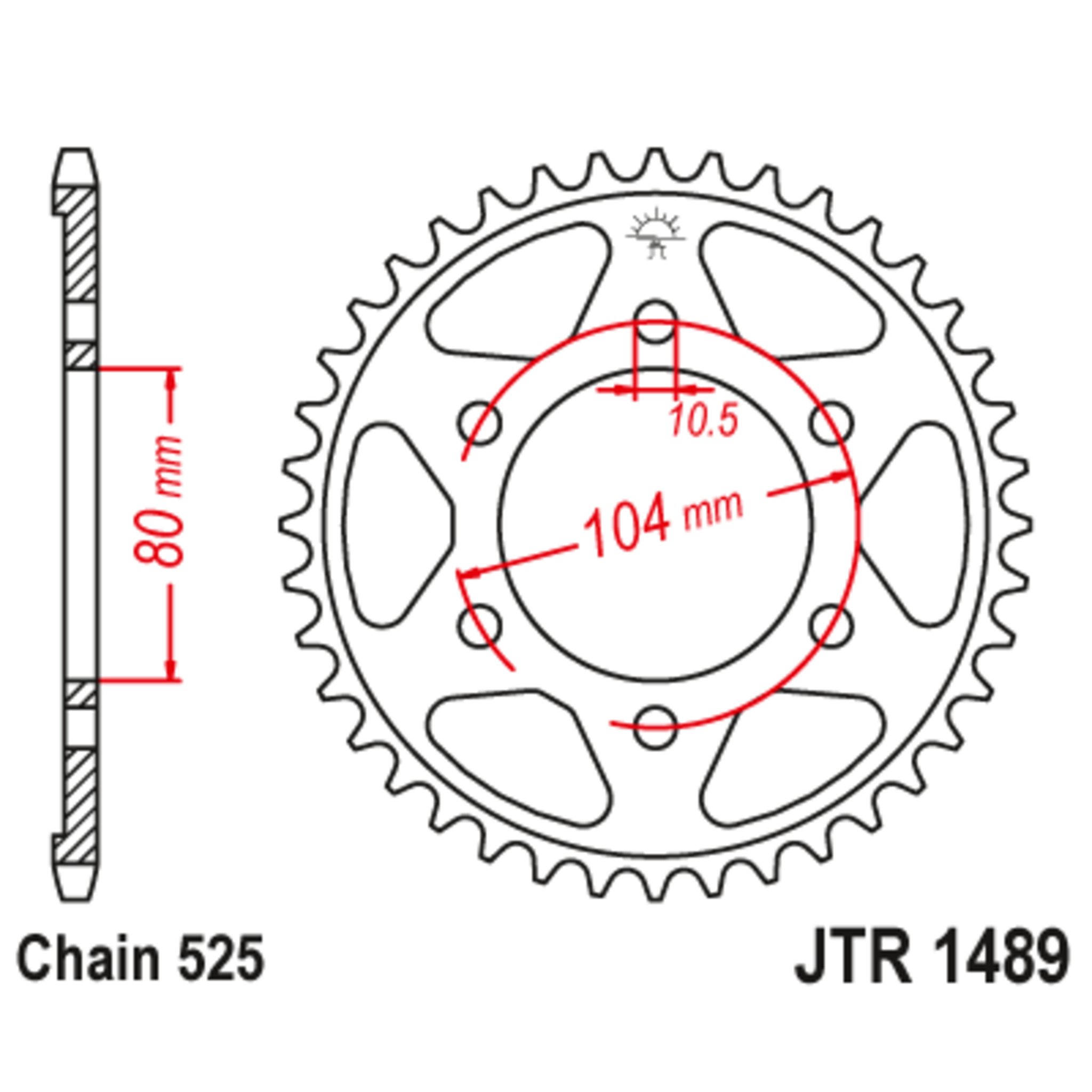Звезда задняя (ведомая),(сталь) JT 1489.40