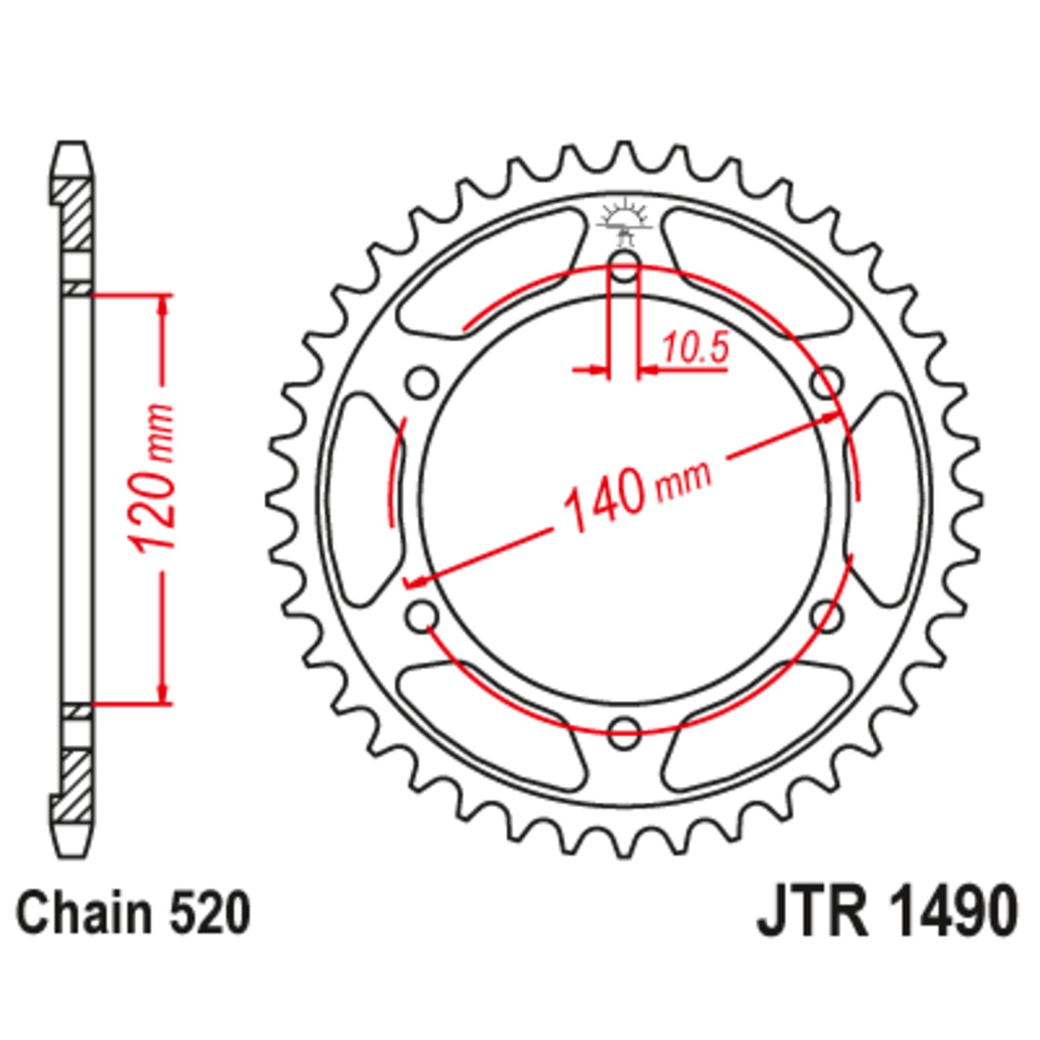 Звезда задняя (ведомая),(сталь) JT 1490.45