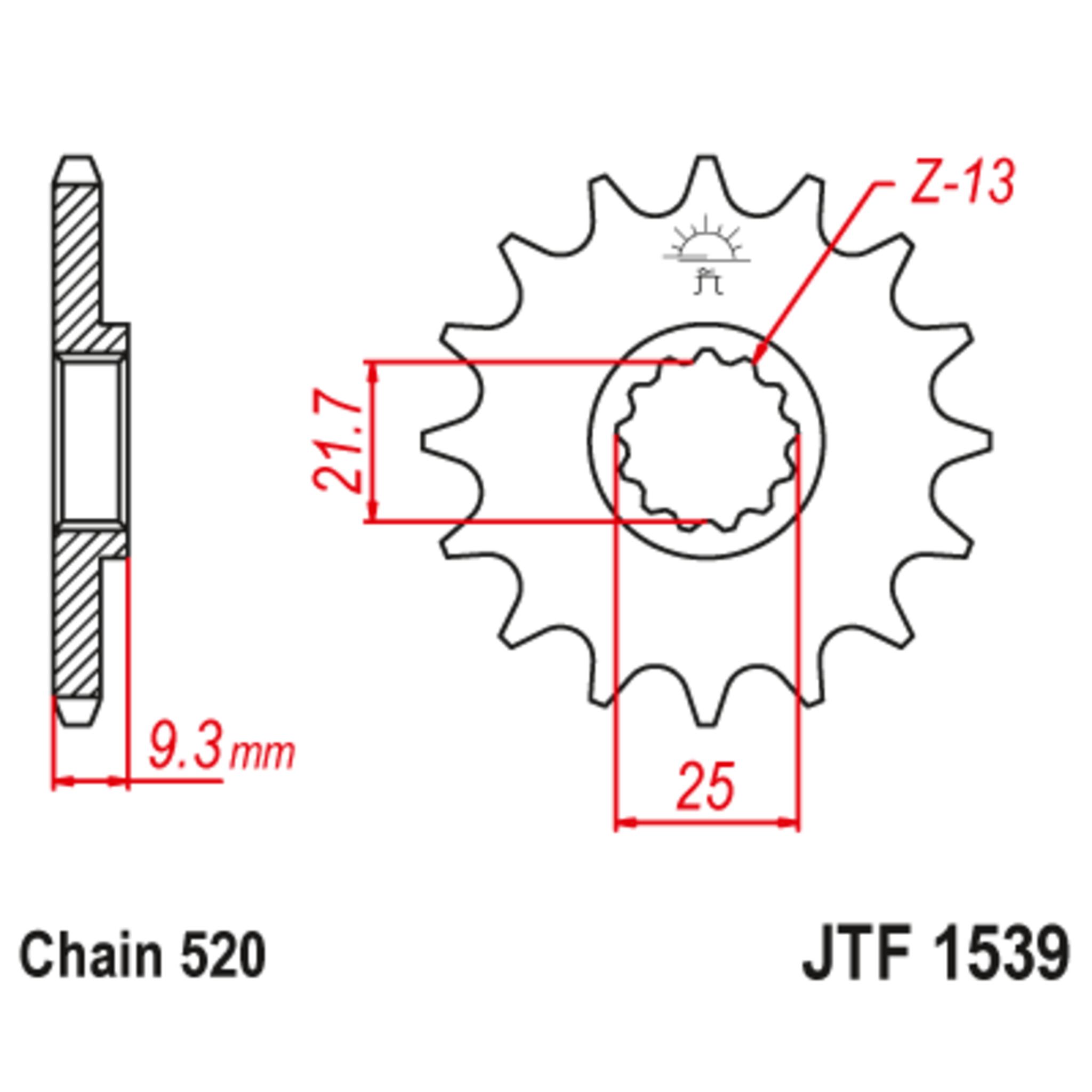 Звезда ведущая , с демпфером, JT 1539.14RB
