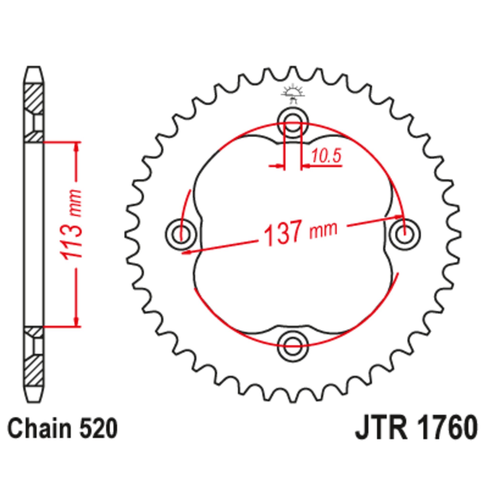 Звезда задняя (ведомая),(сталь) JT 1760.36