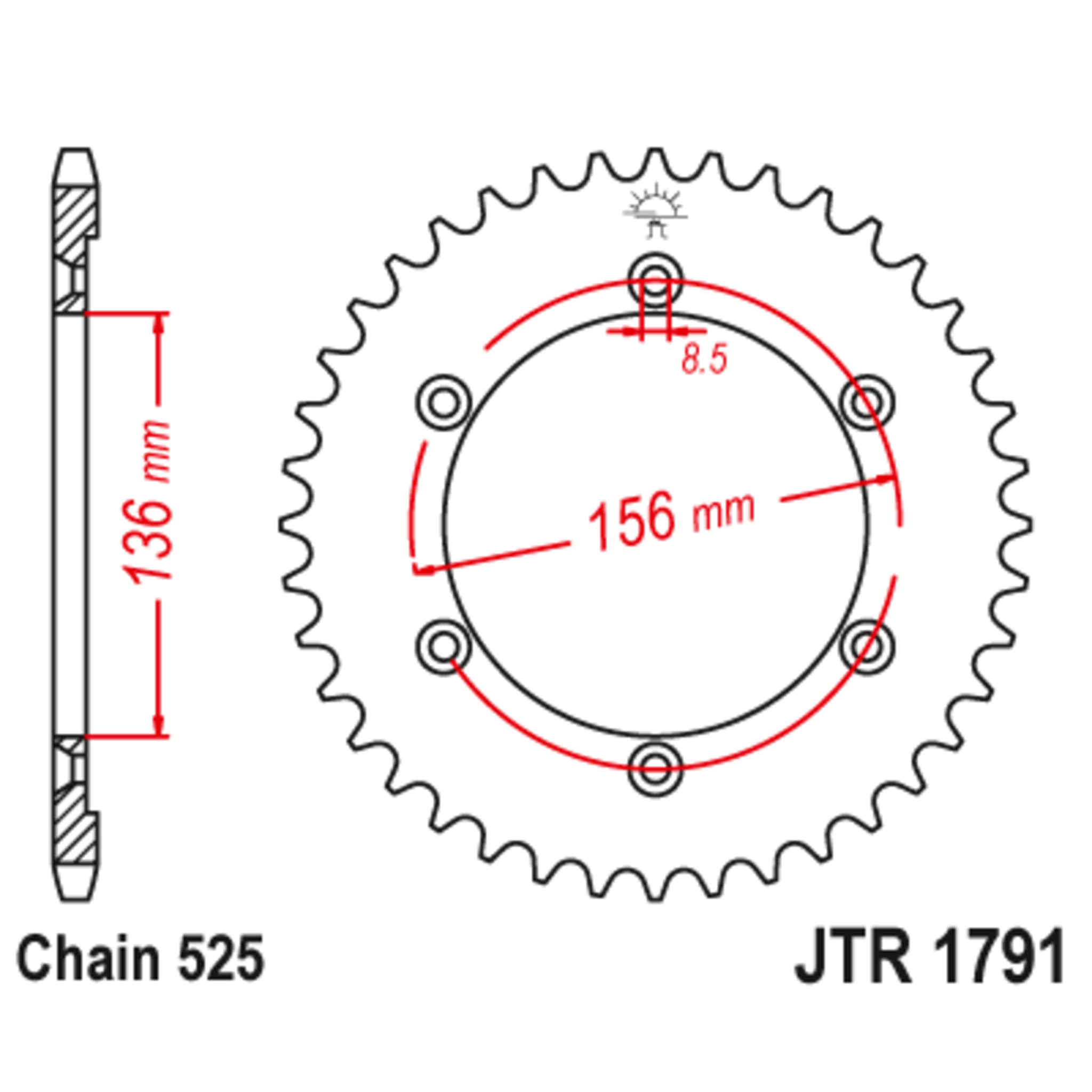 Звезда задняя (ведомая),(сталь) JT 1791.43