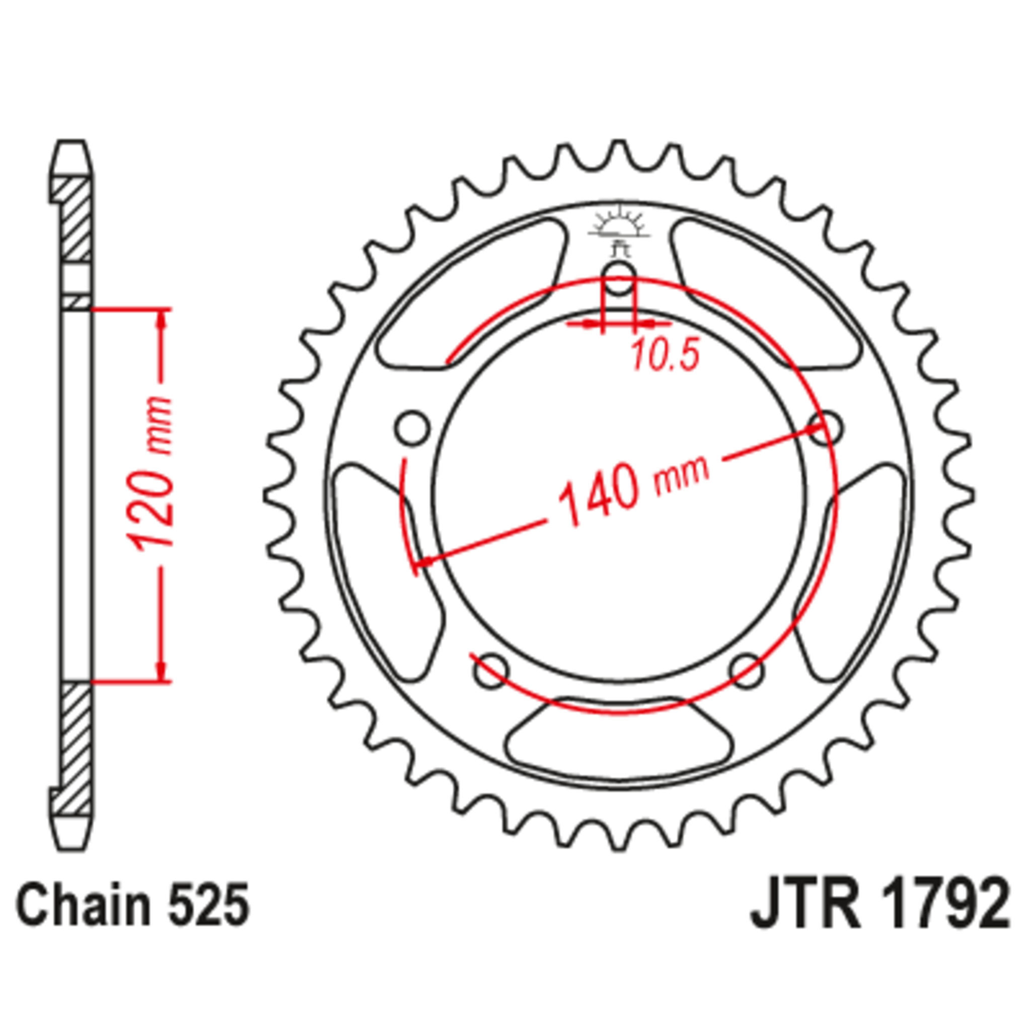 Звезда задняя (ведомая),(сталь) JT 1792.44