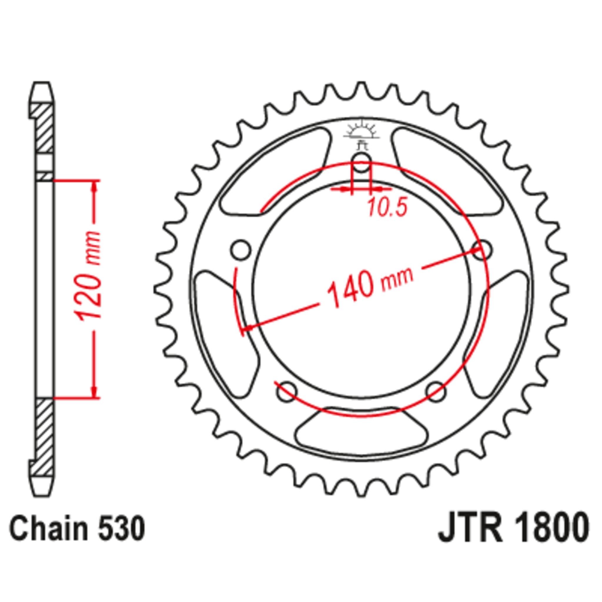 Звезда задняя (ведомая),(сталь) JT 1800.44