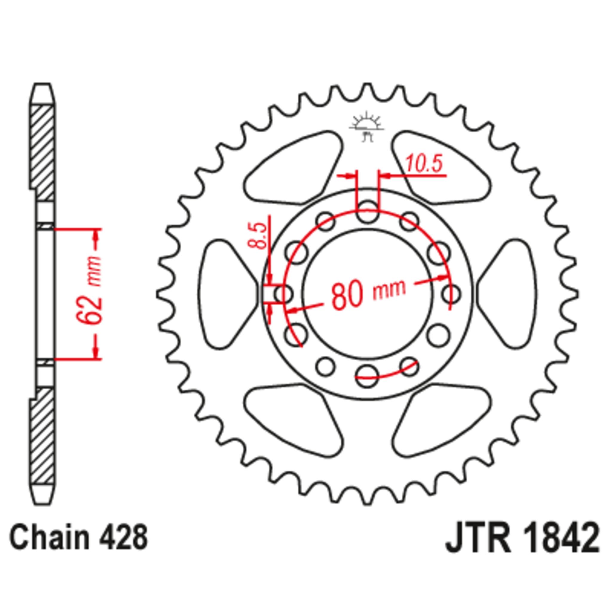 Звезда задняя (ведомая),(сталь) JT 1842.55