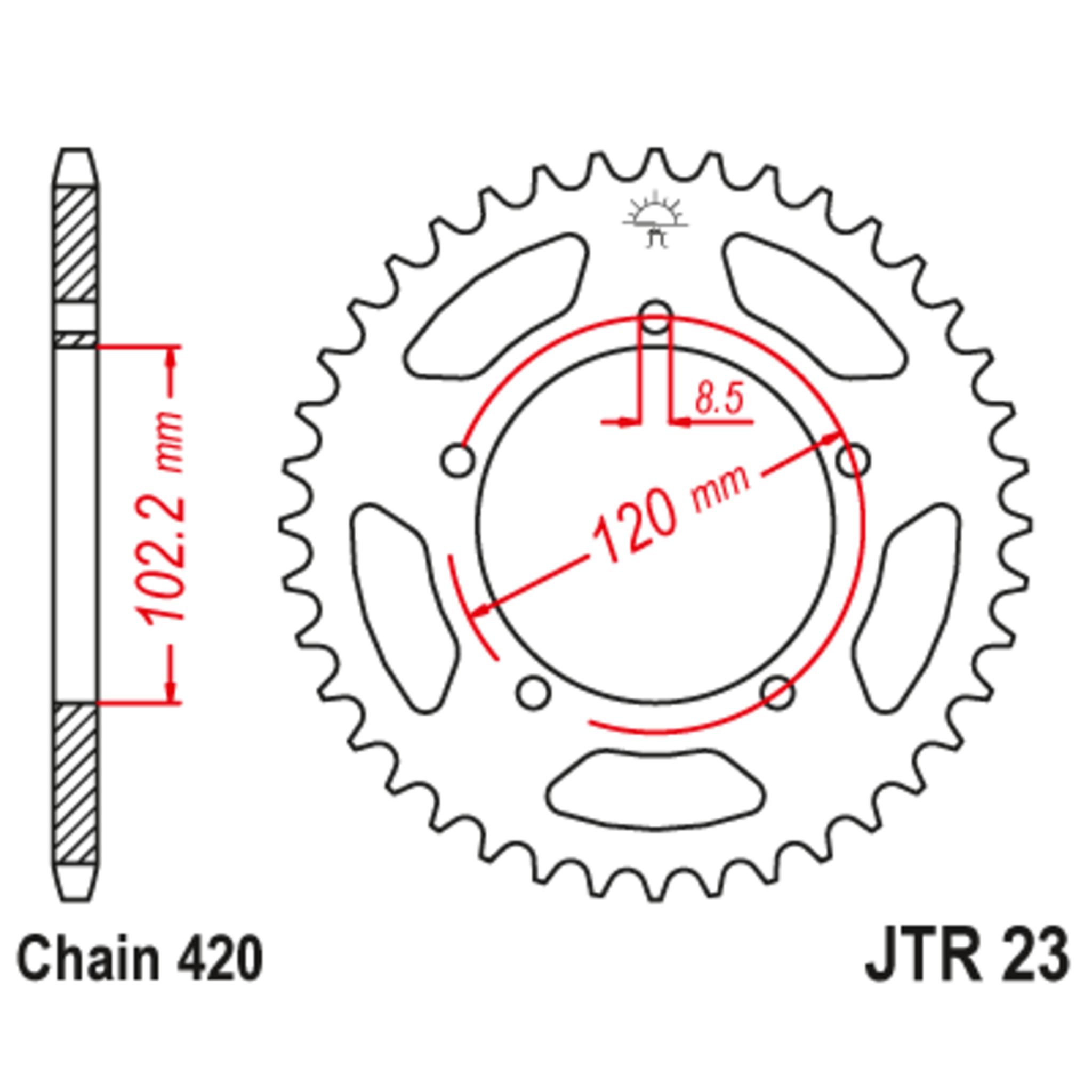 Звезда задняя (ведомая),(сталь) JT 23.47
