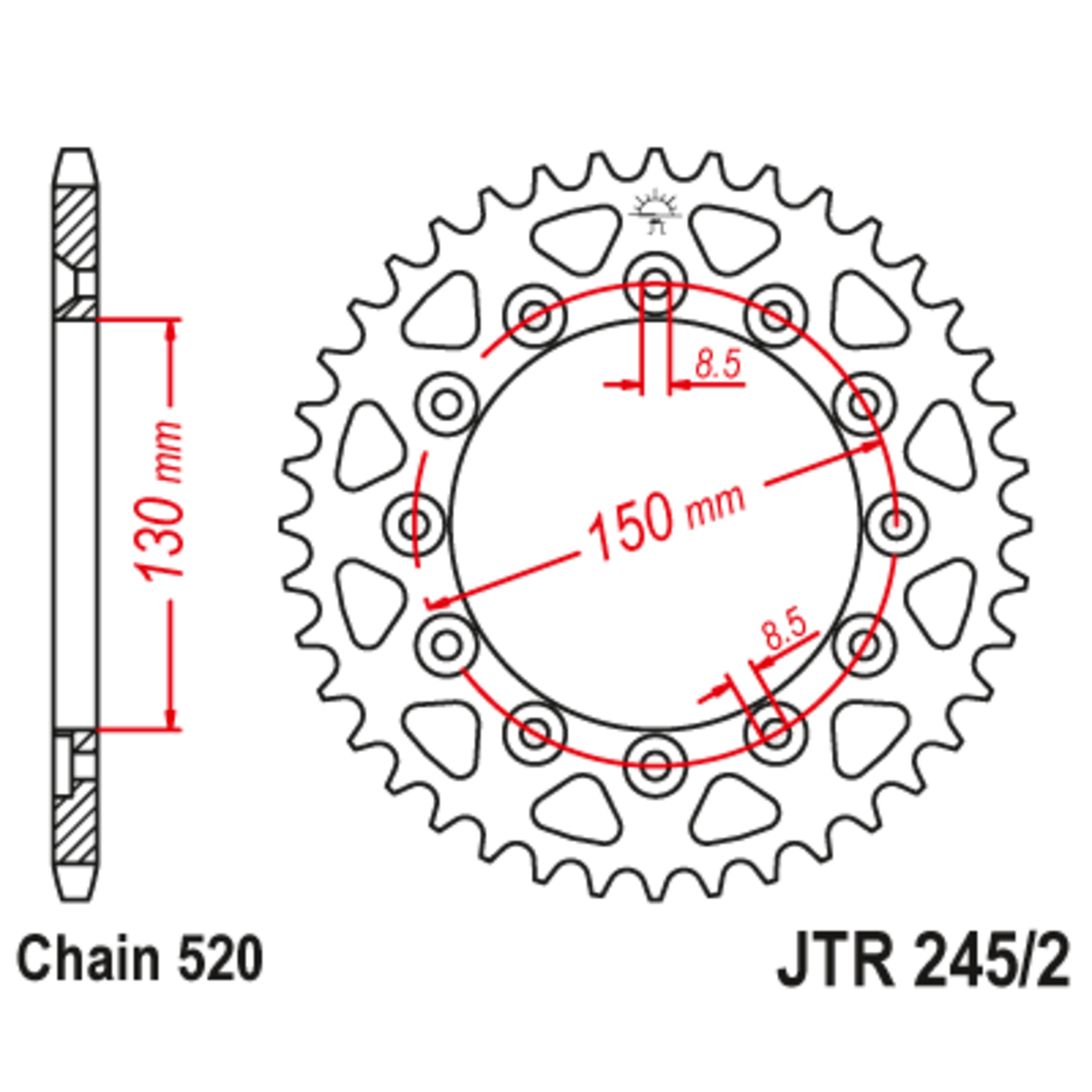 Звезда задняя (ведомая),(сталь) JT 245/2.45