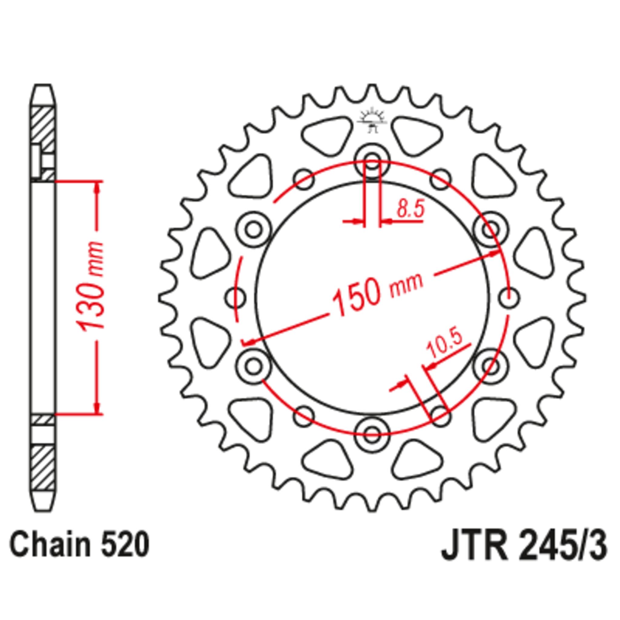 Звезда задняя (ведомая),(сталь) JT 245/3.45
