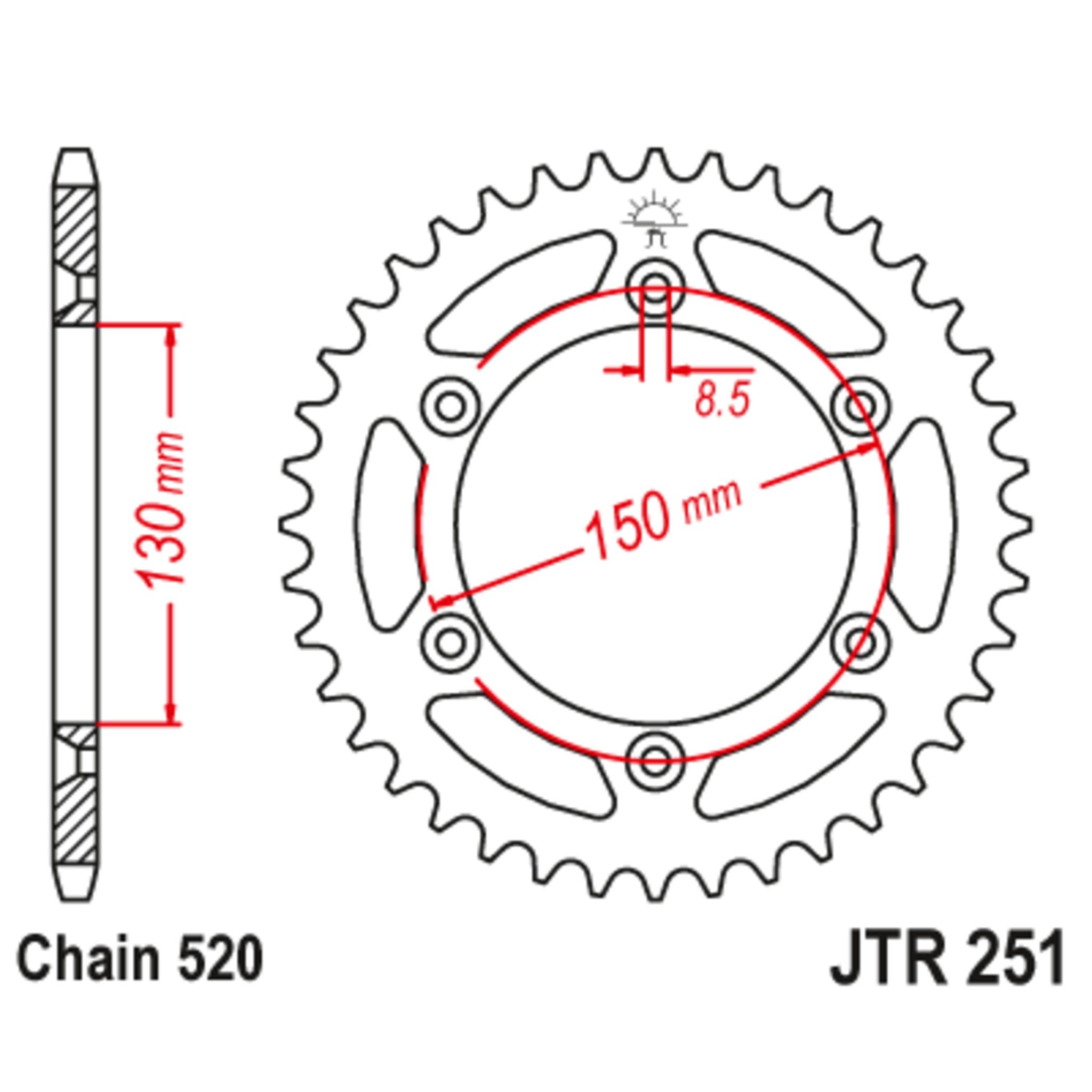 Звезда задняя (ведомая),(сталь) JT 251.51SC