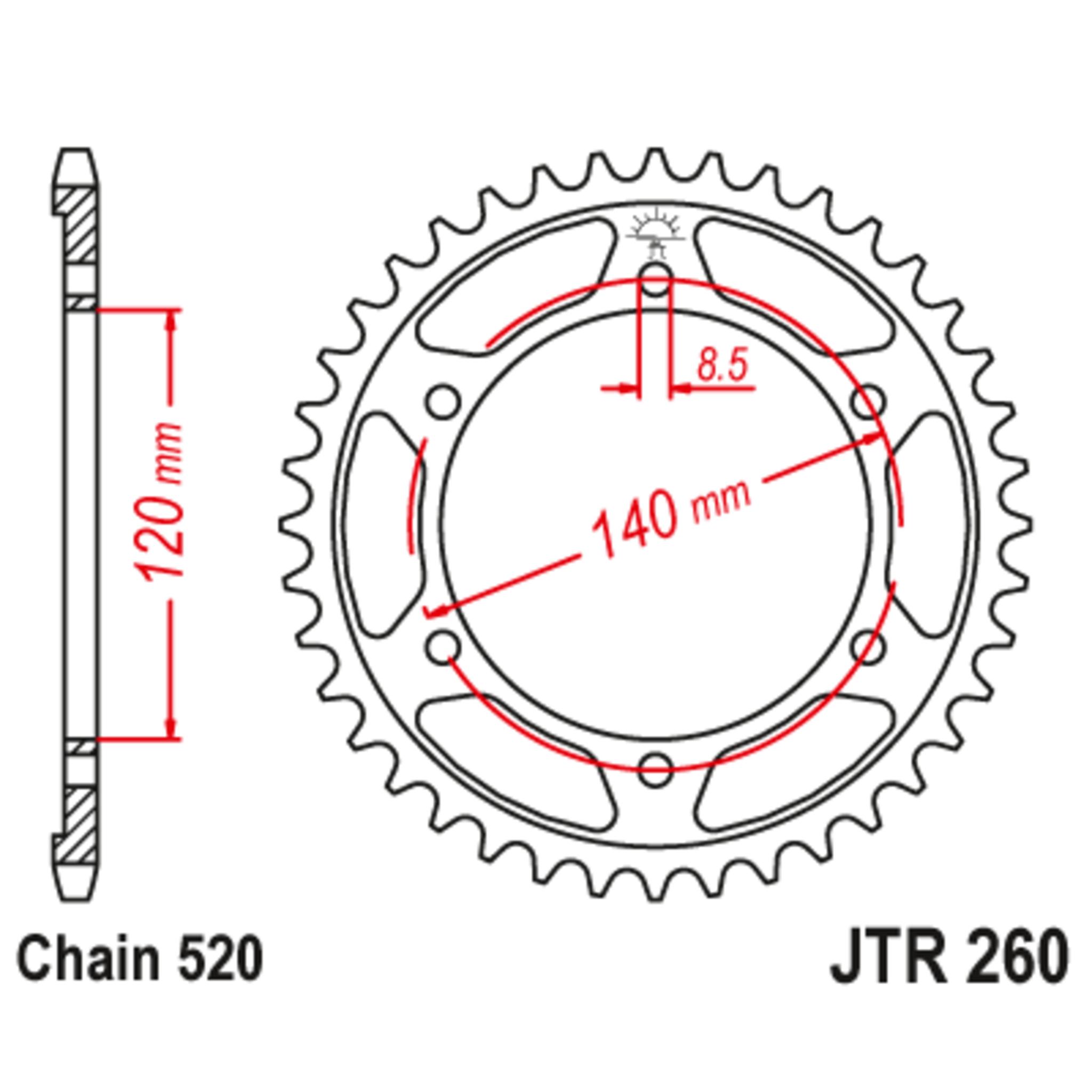 Звезда задняя (ведомая),(сталь) JT 260.38