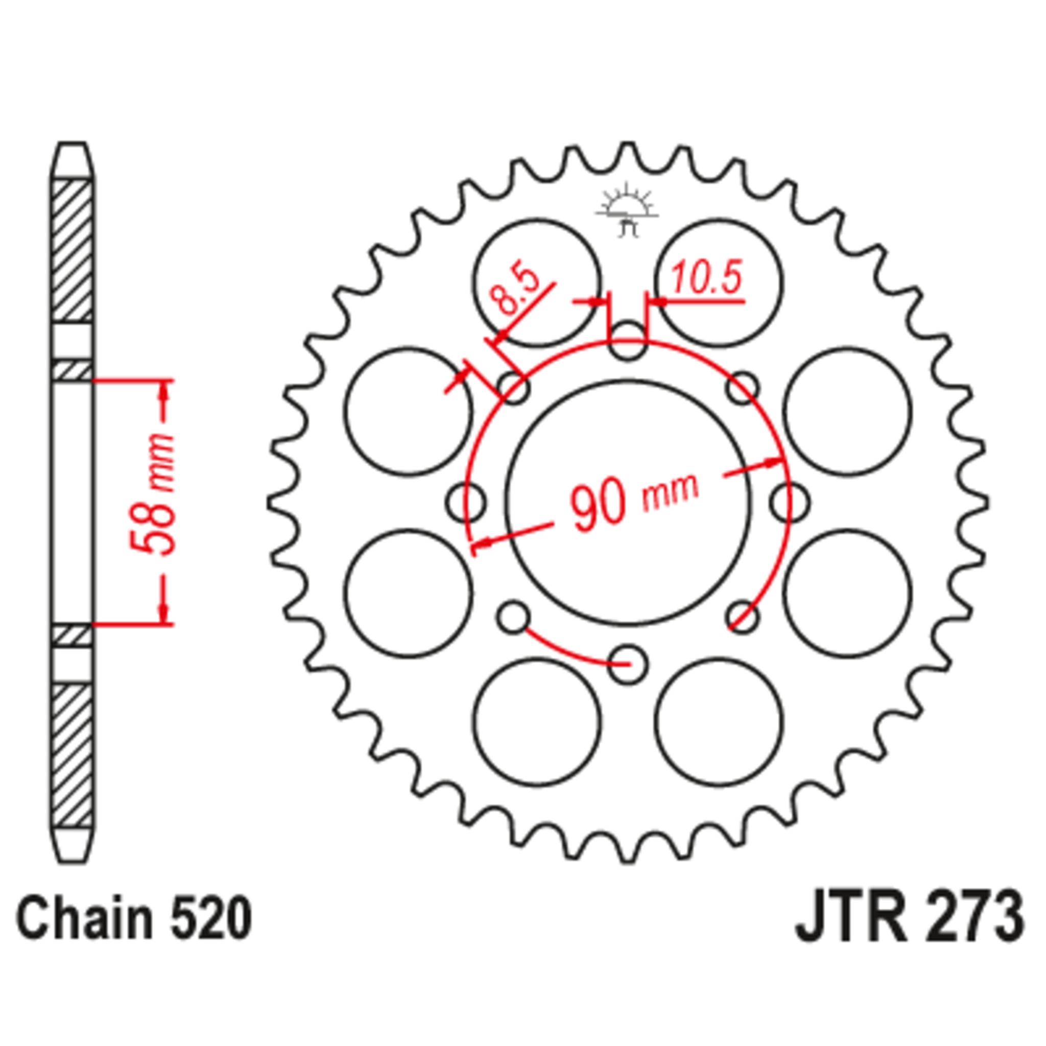 Звезда задняя (ведомая),(сталь) JT 273.44