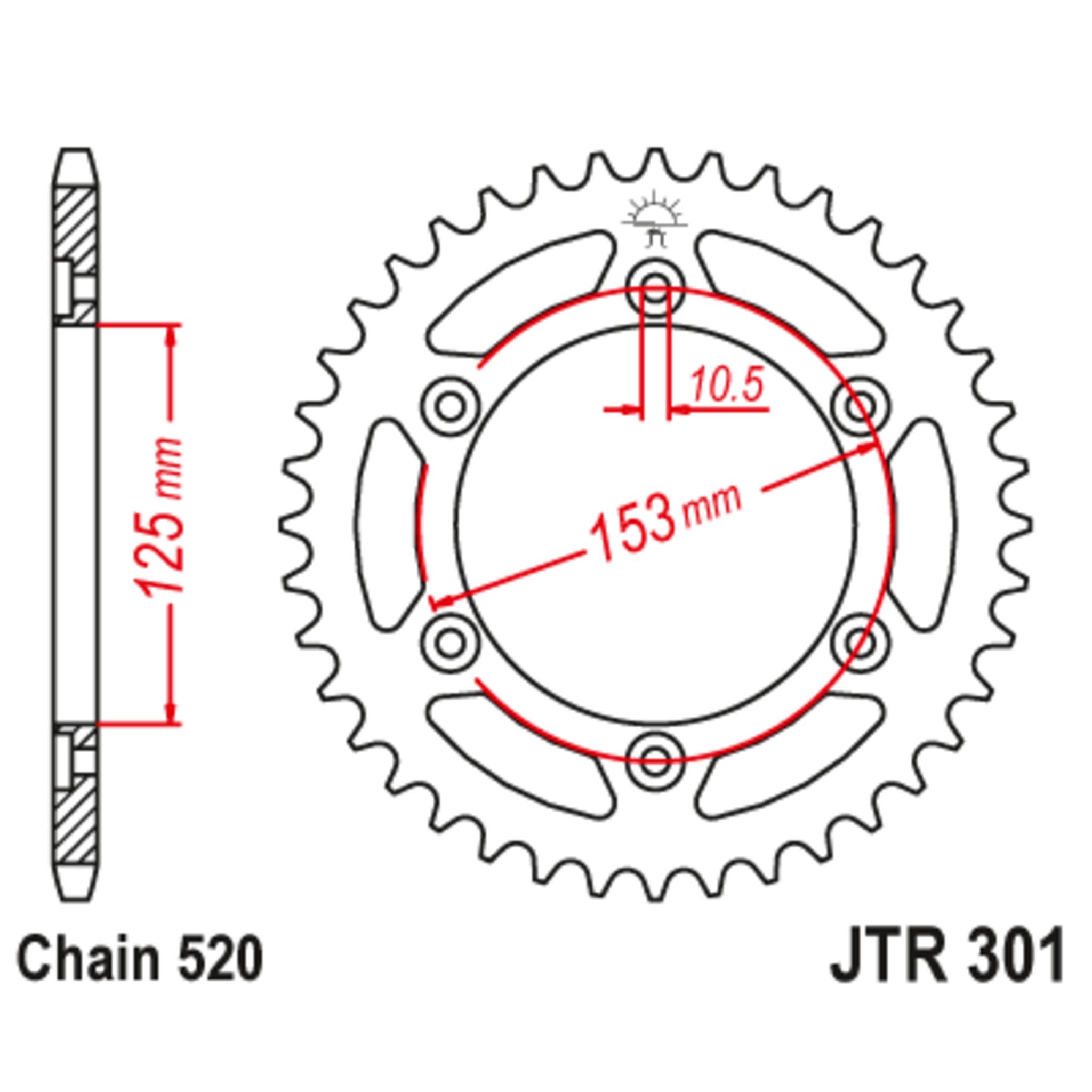 Звезда задняя (ведомая),(сталь) JT 301.45