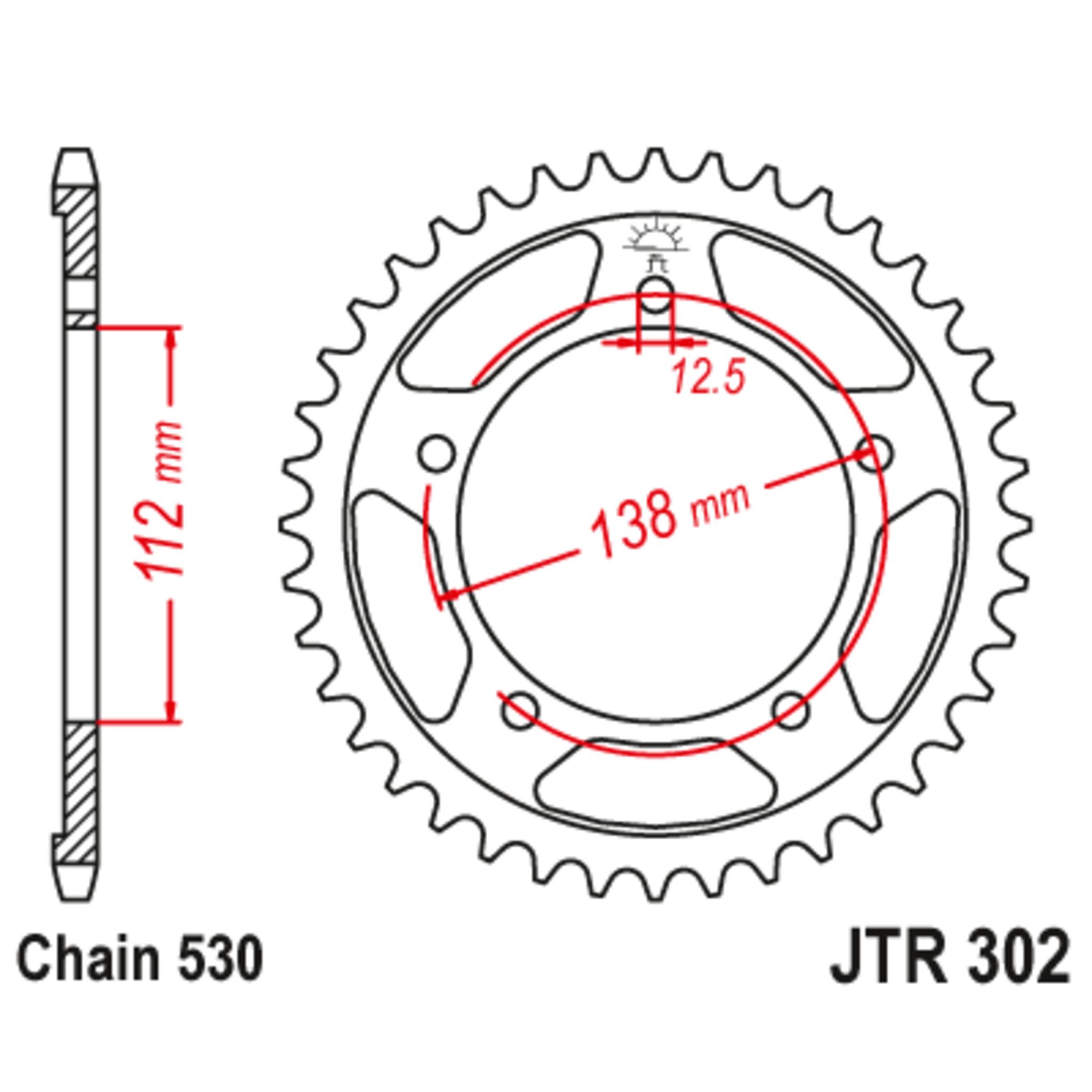 Звезда задняя (ведомая),(сталь) JT 302.42