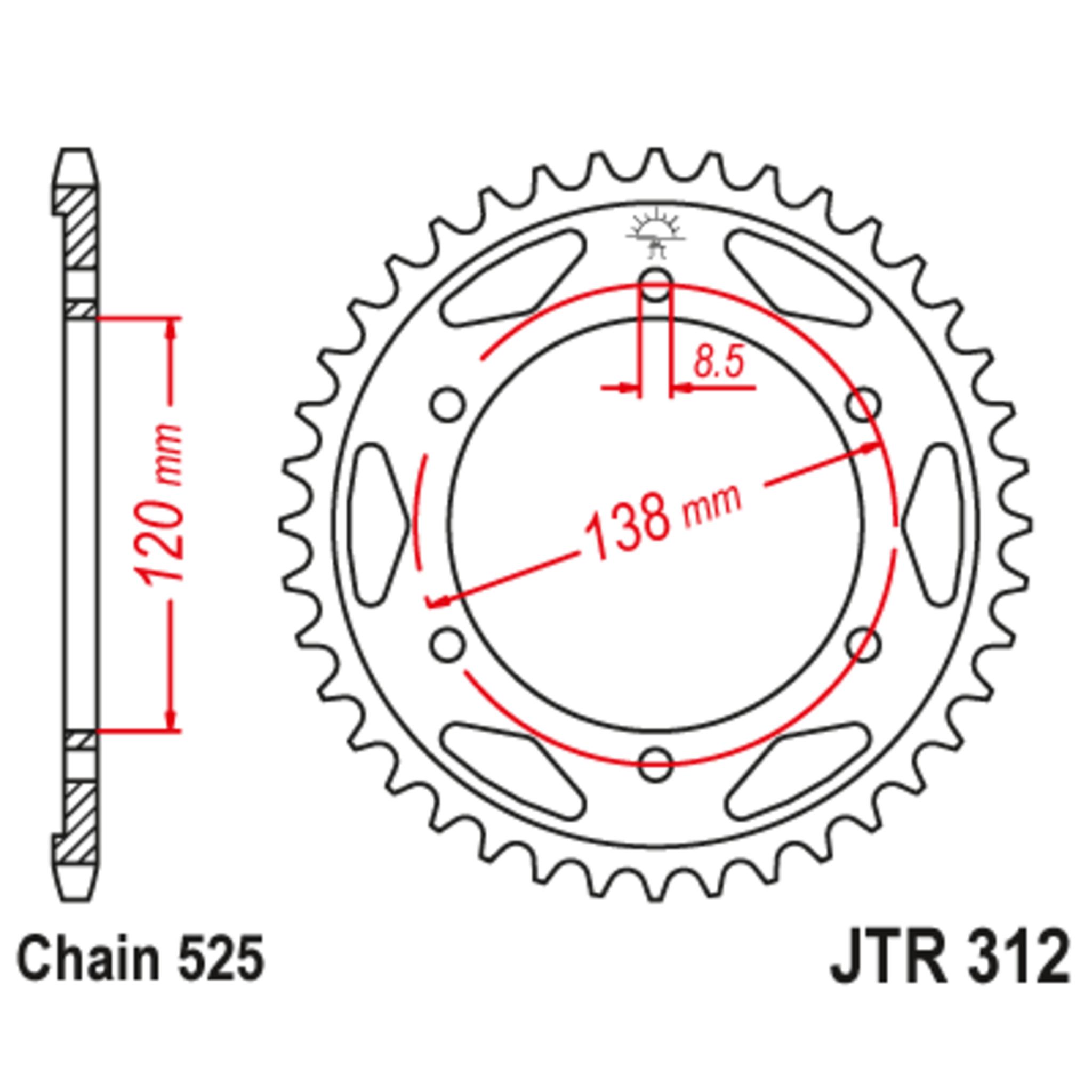 Звезда задняя (ведомая),(сталь) JT 312.38