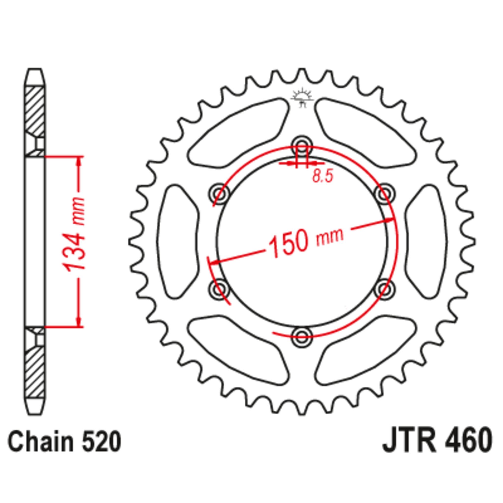 Звезда задняя (ведомая),(сталь) JT 460.50