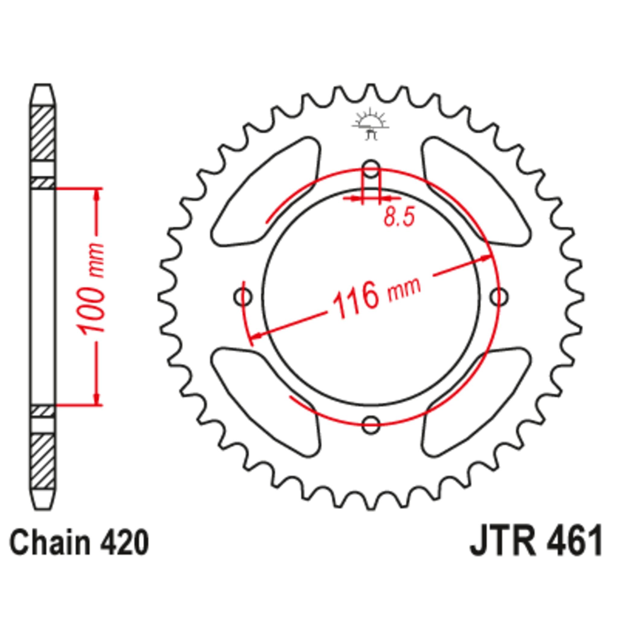 Звезда задняя (ведомая),(сталь) JT 461.50