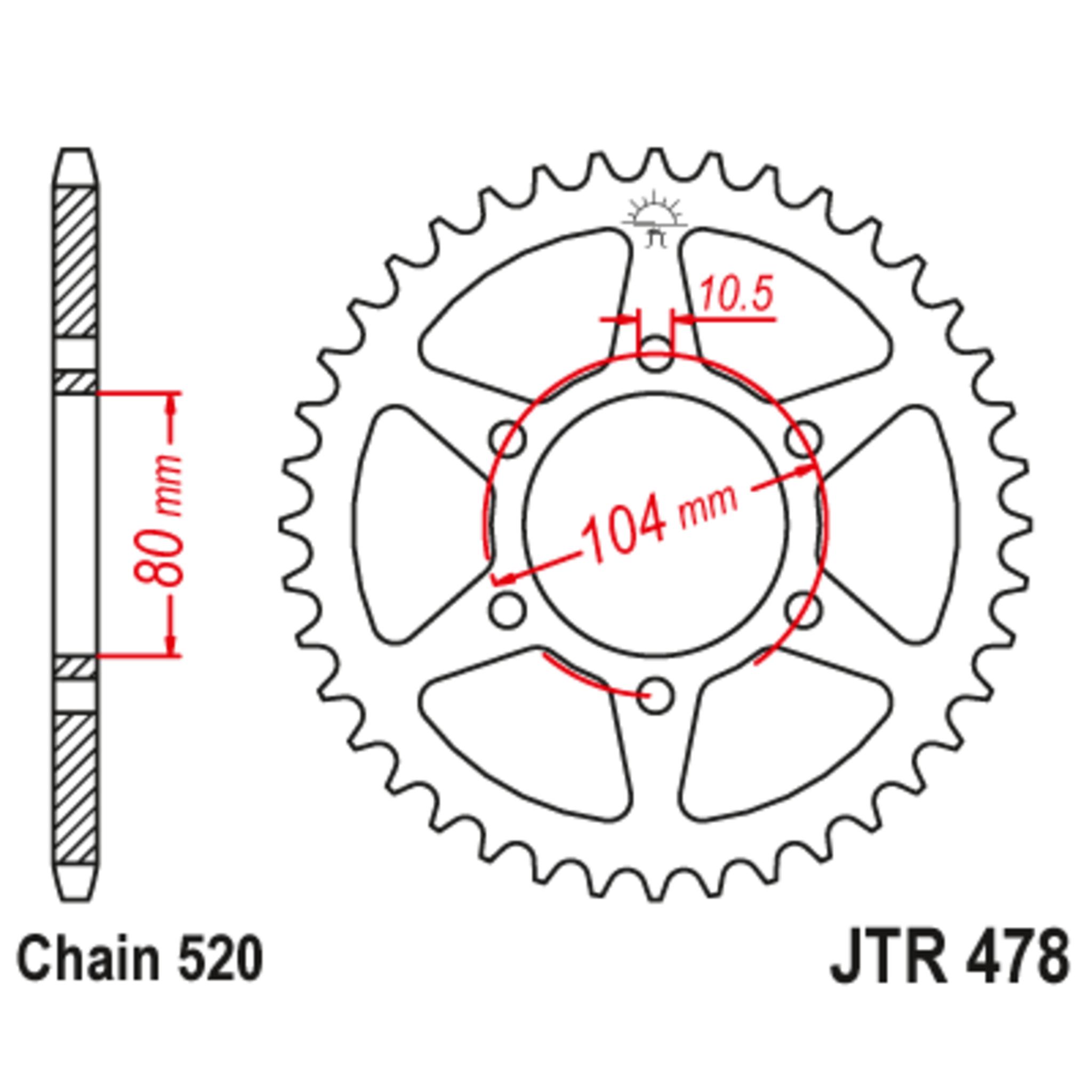 Звезда задняя (ведомая),(сталь) JT 478.43ZBK