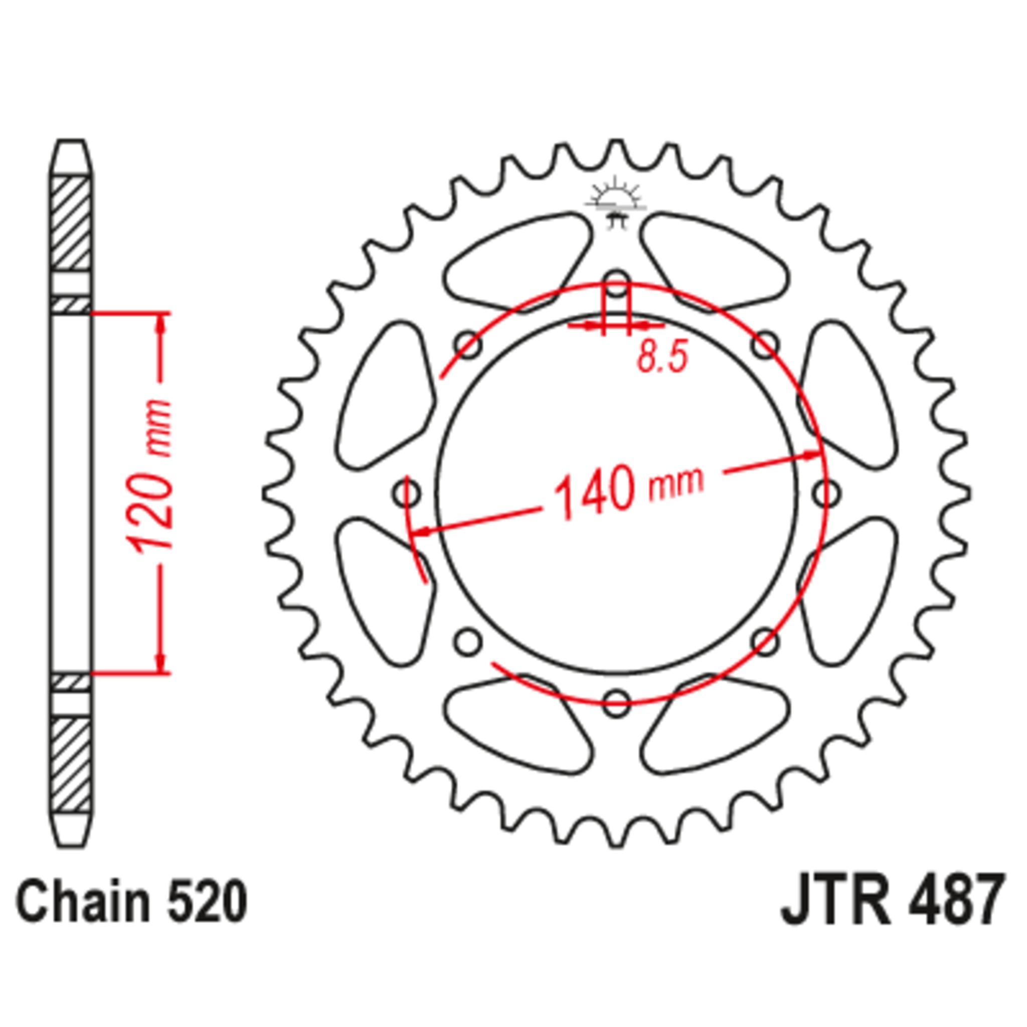 Звезда задняя (ведомая),(сталь) JT 487.42