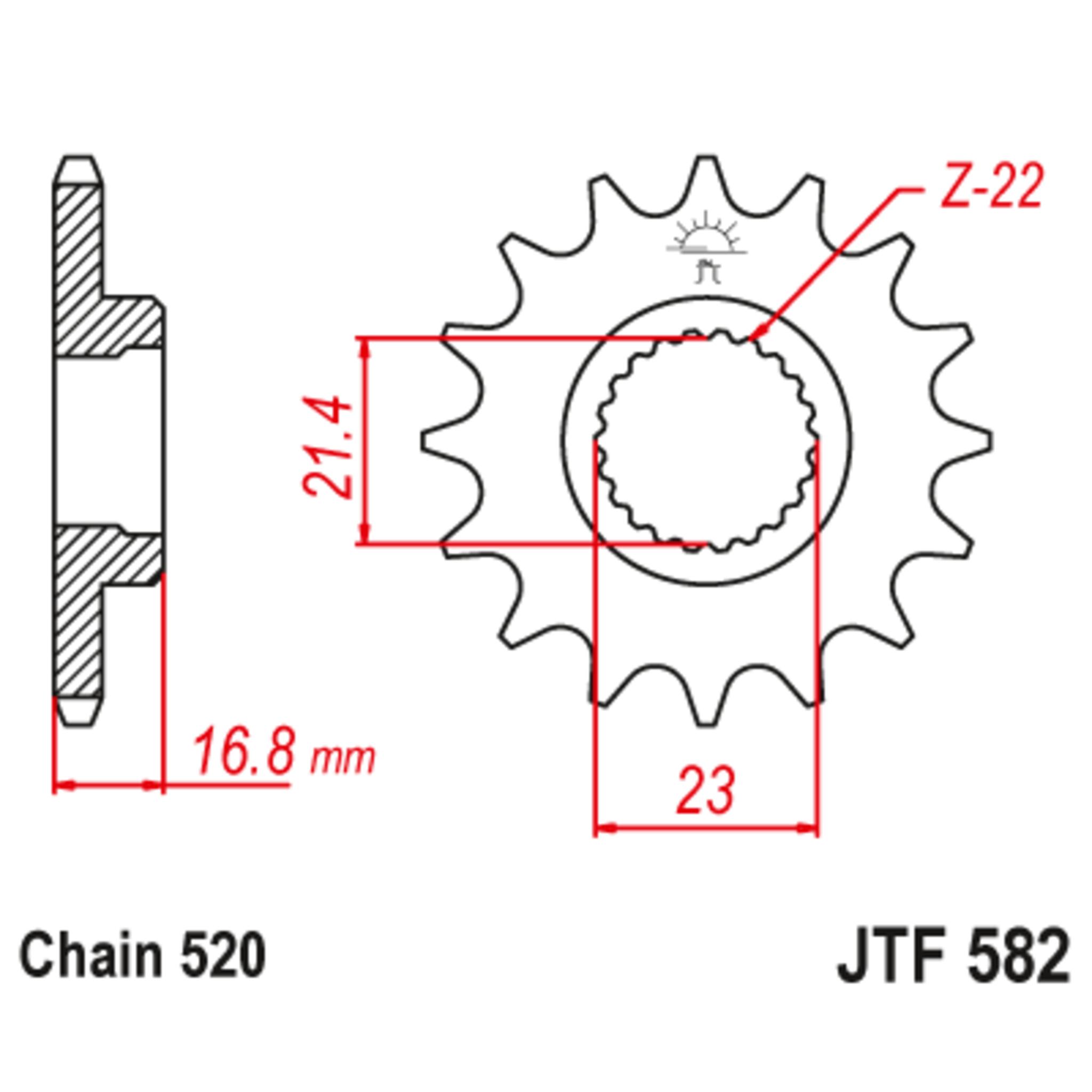 Звезда ведущая , с демпфером, JT 582.16RB