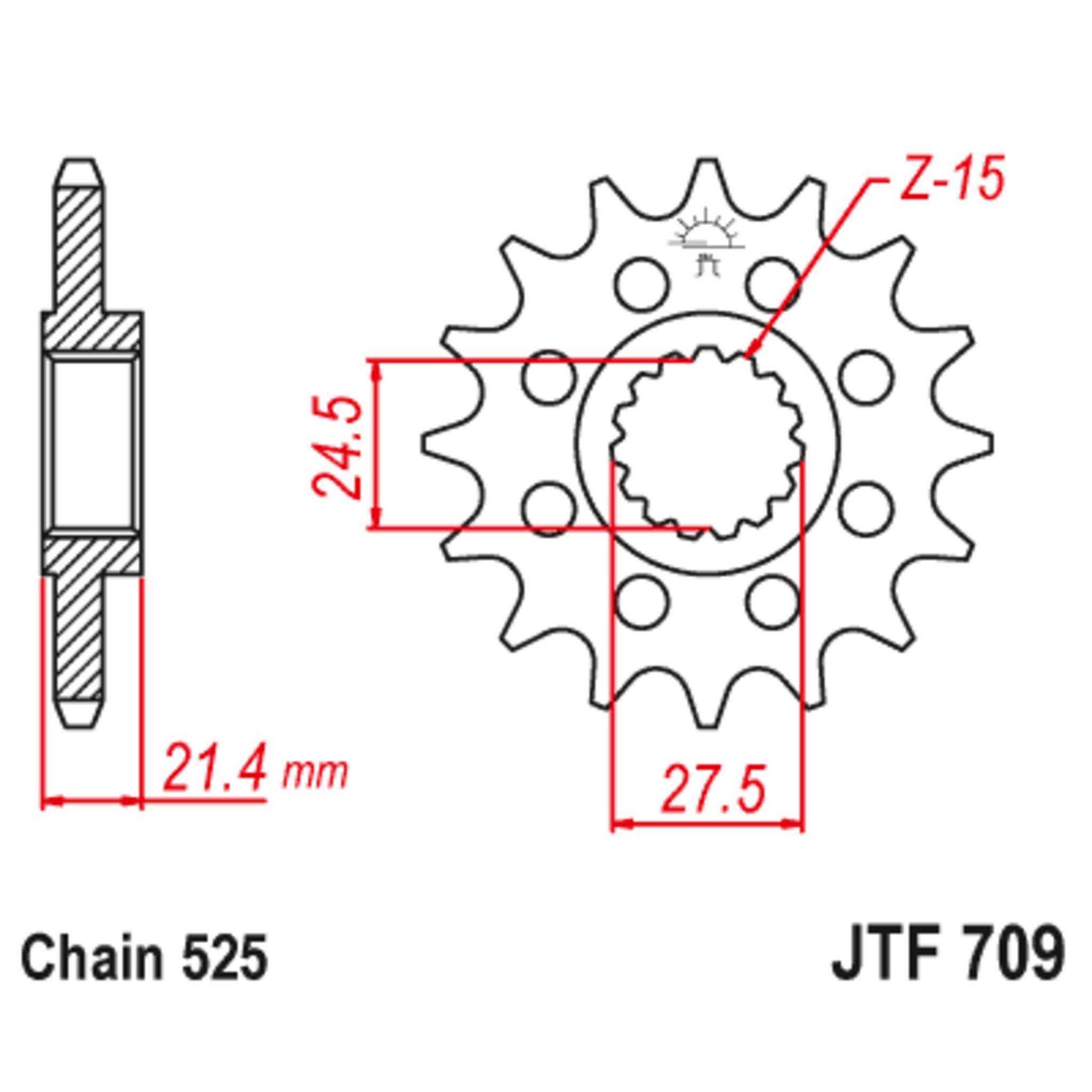Звезда ведущая , с демпфером, JT 709.16RB
