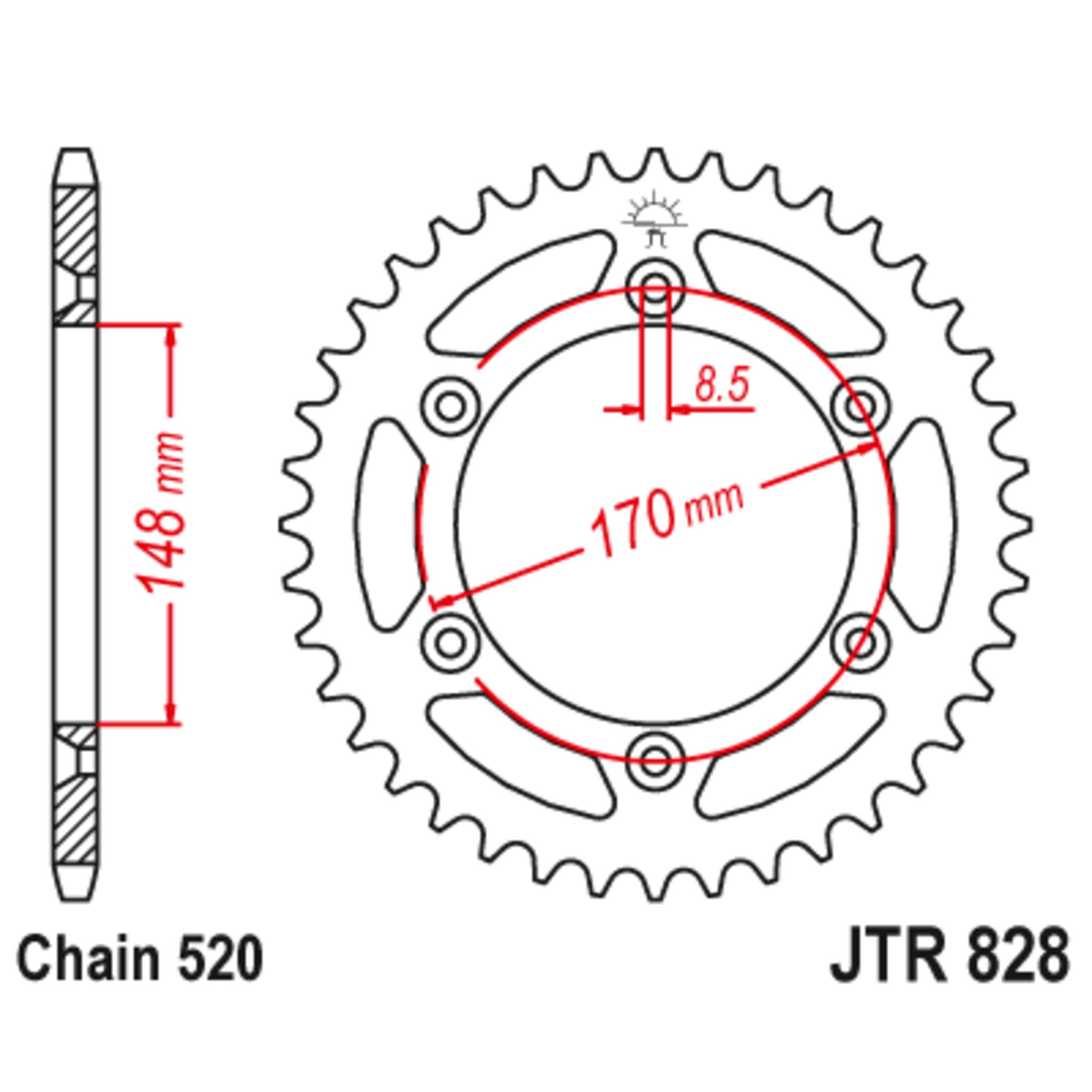 Звезда задняя (ведомая),(сталь) JT 828.47