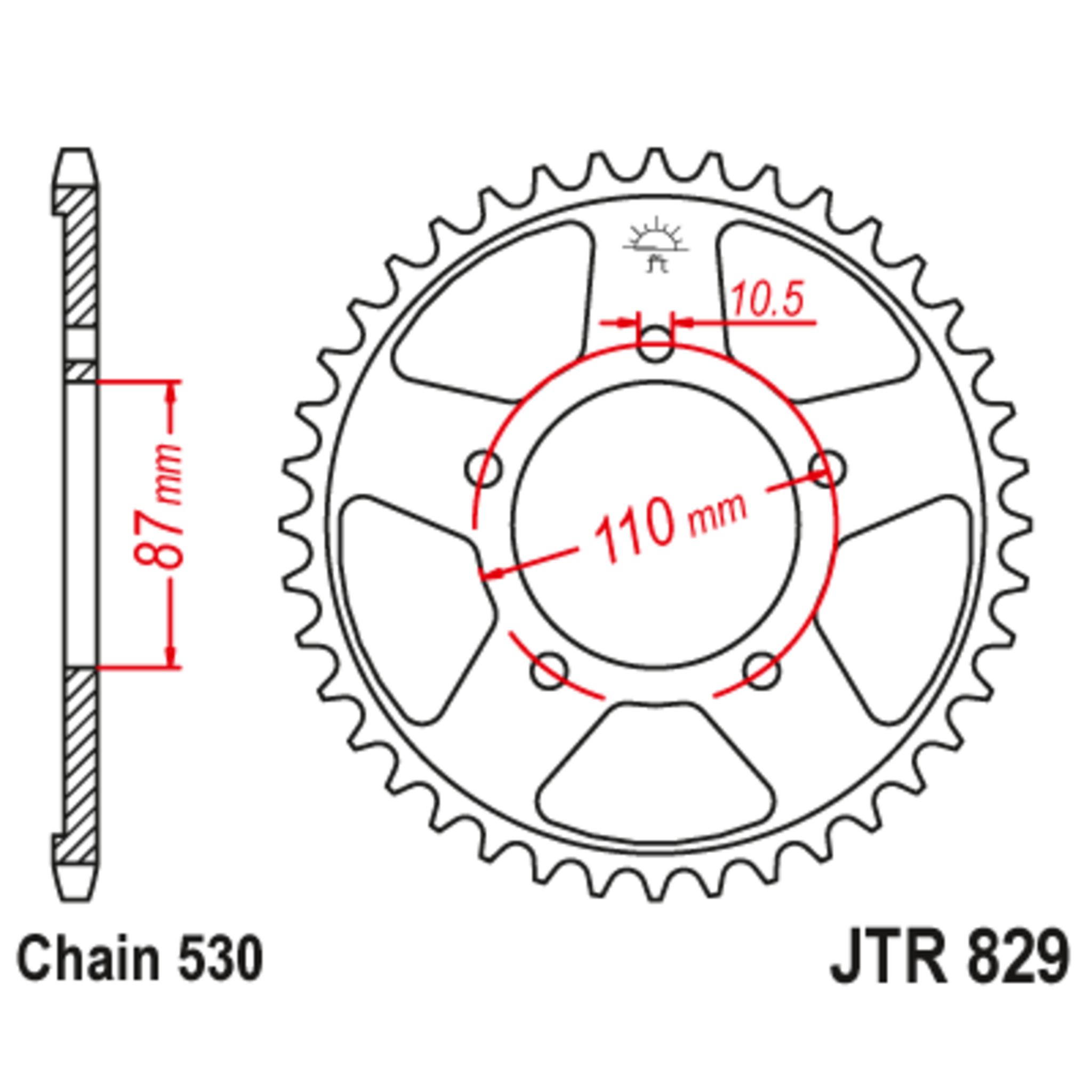 Звезда задняя (ведомая),(сталь) JT 829.44