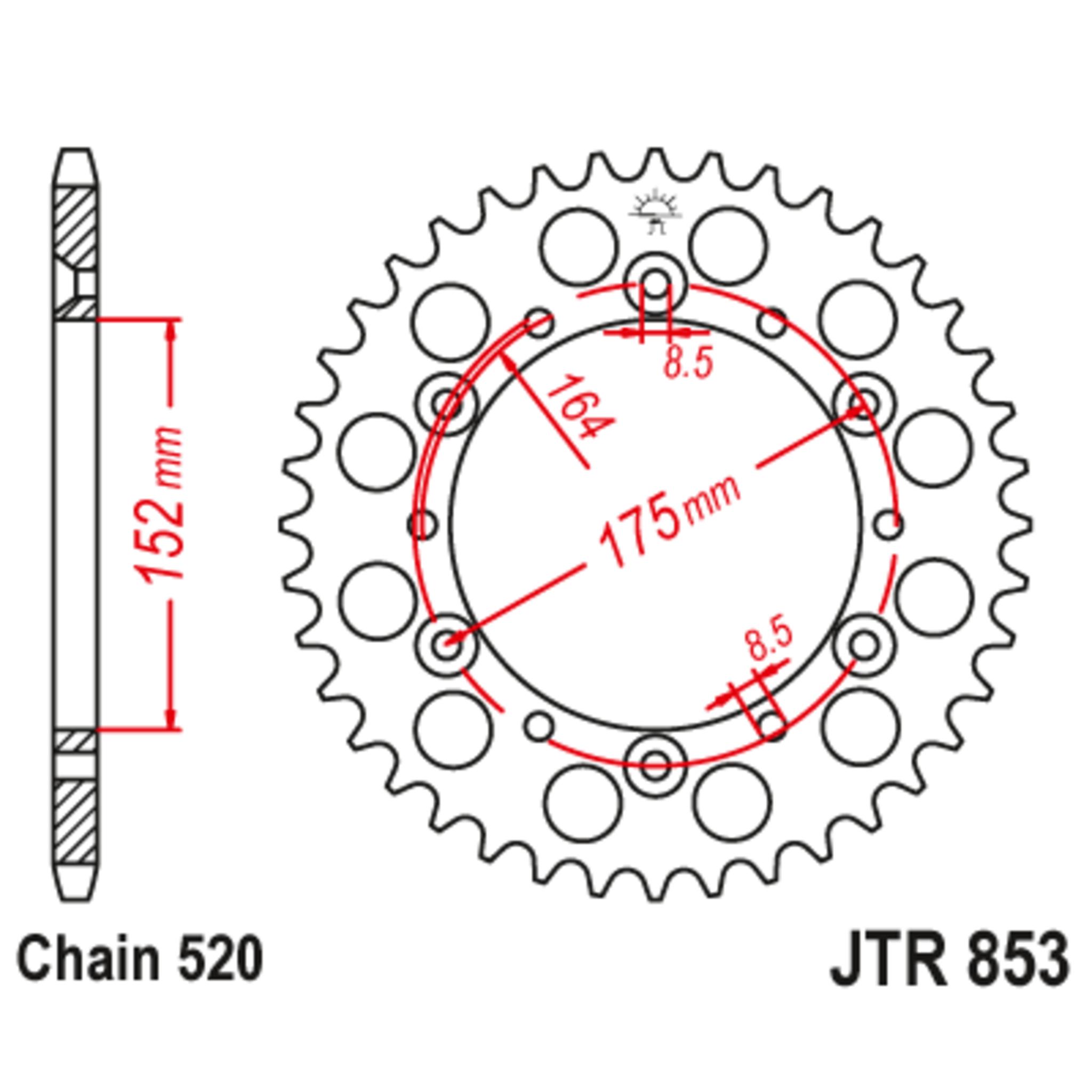 Звезда задняя (ведомая),(сталь) JT 853.46
