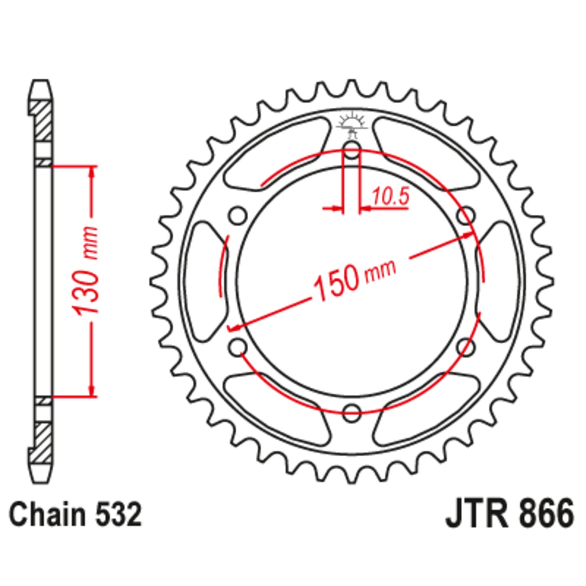 Звезда задняя (ведомая),(сталь) JT 866.46