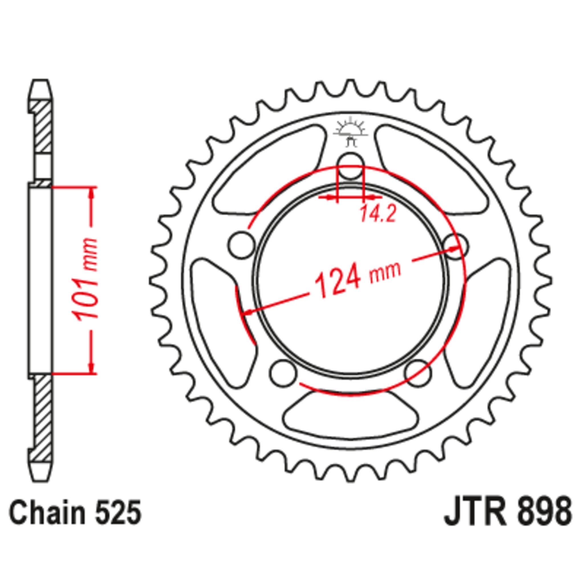 Звезда задняя (ведомая),(сталь) JT 898.41