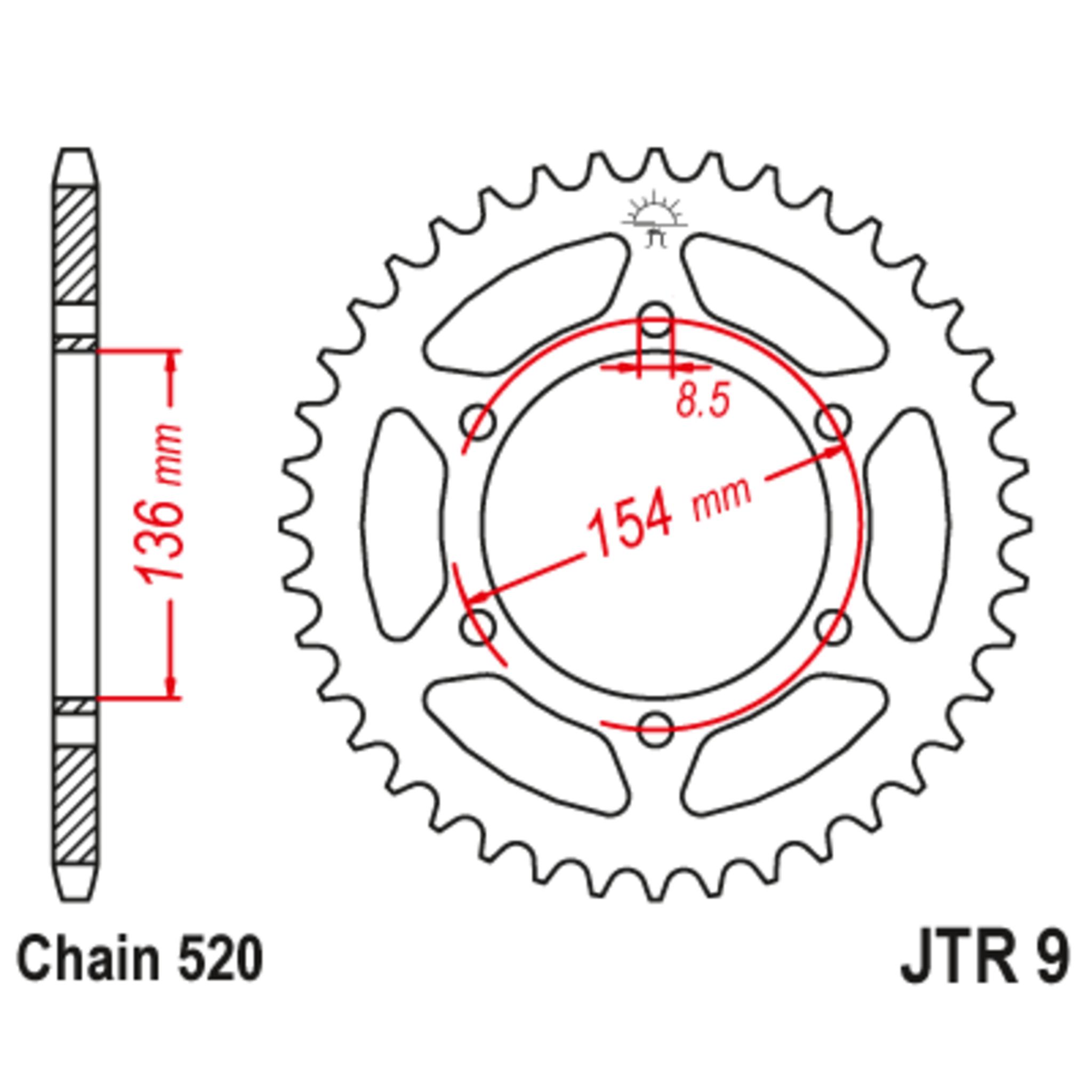 Звезда задняя (ведомая),(сталь) JT 9.47